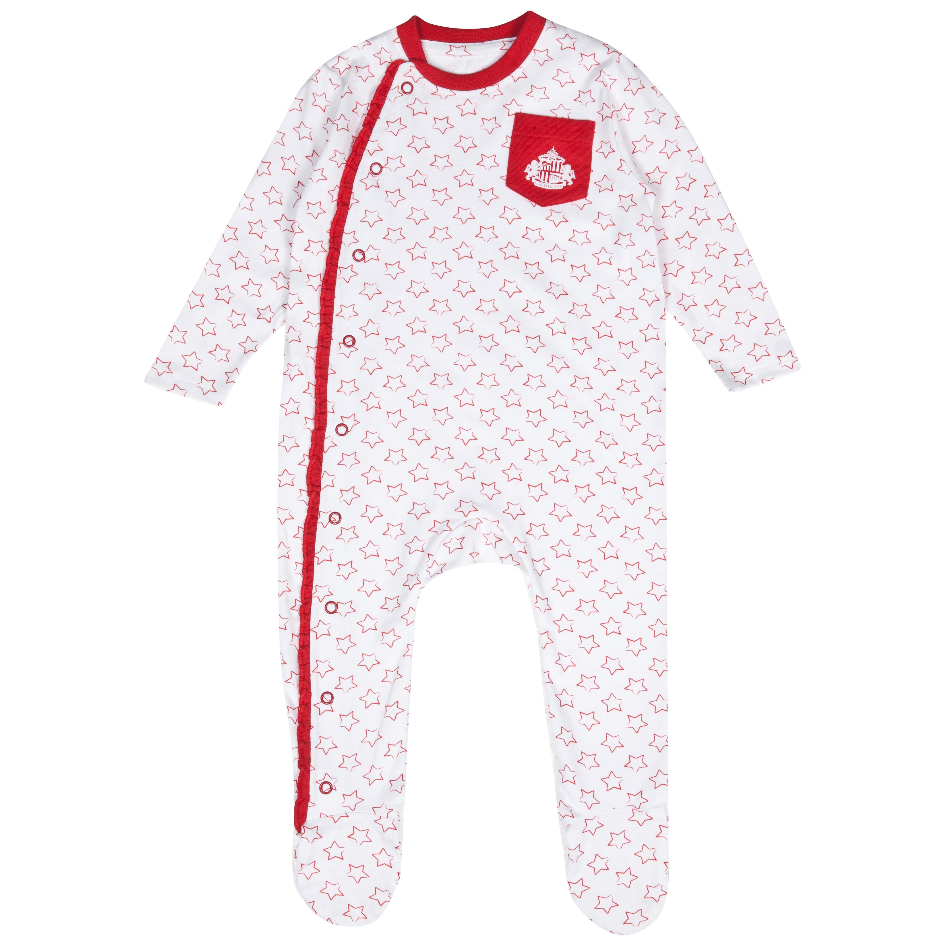 Sunderland Frill Sleepsuit - White/Red - Baby