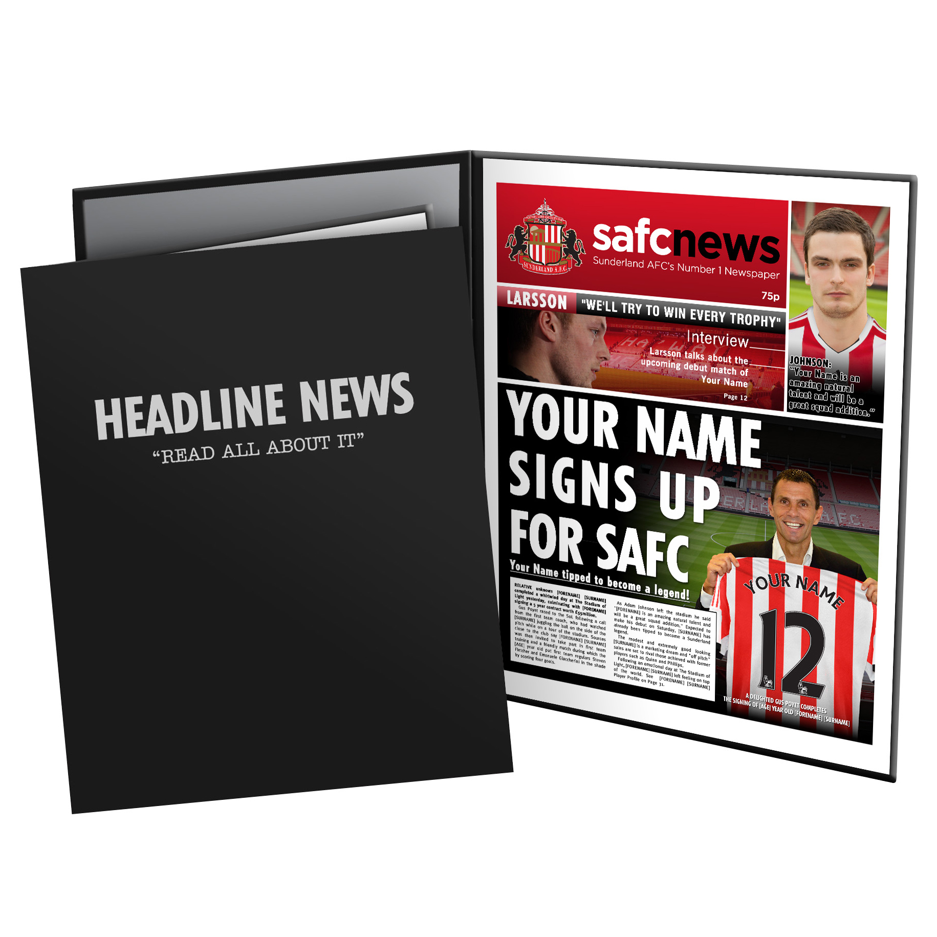 Sunderland Personalised Newspaper in Presentation Folder