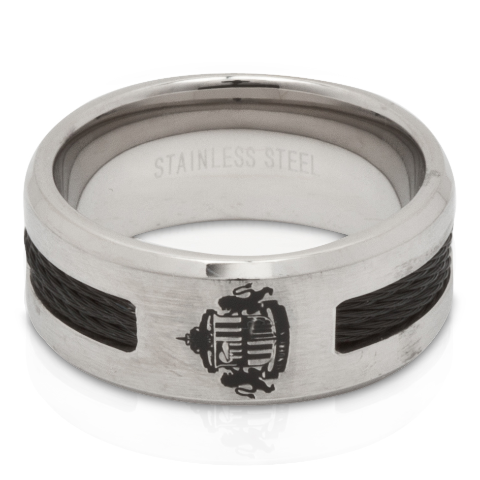 Sunderland Steel Black Inlay 10mm Band Ring