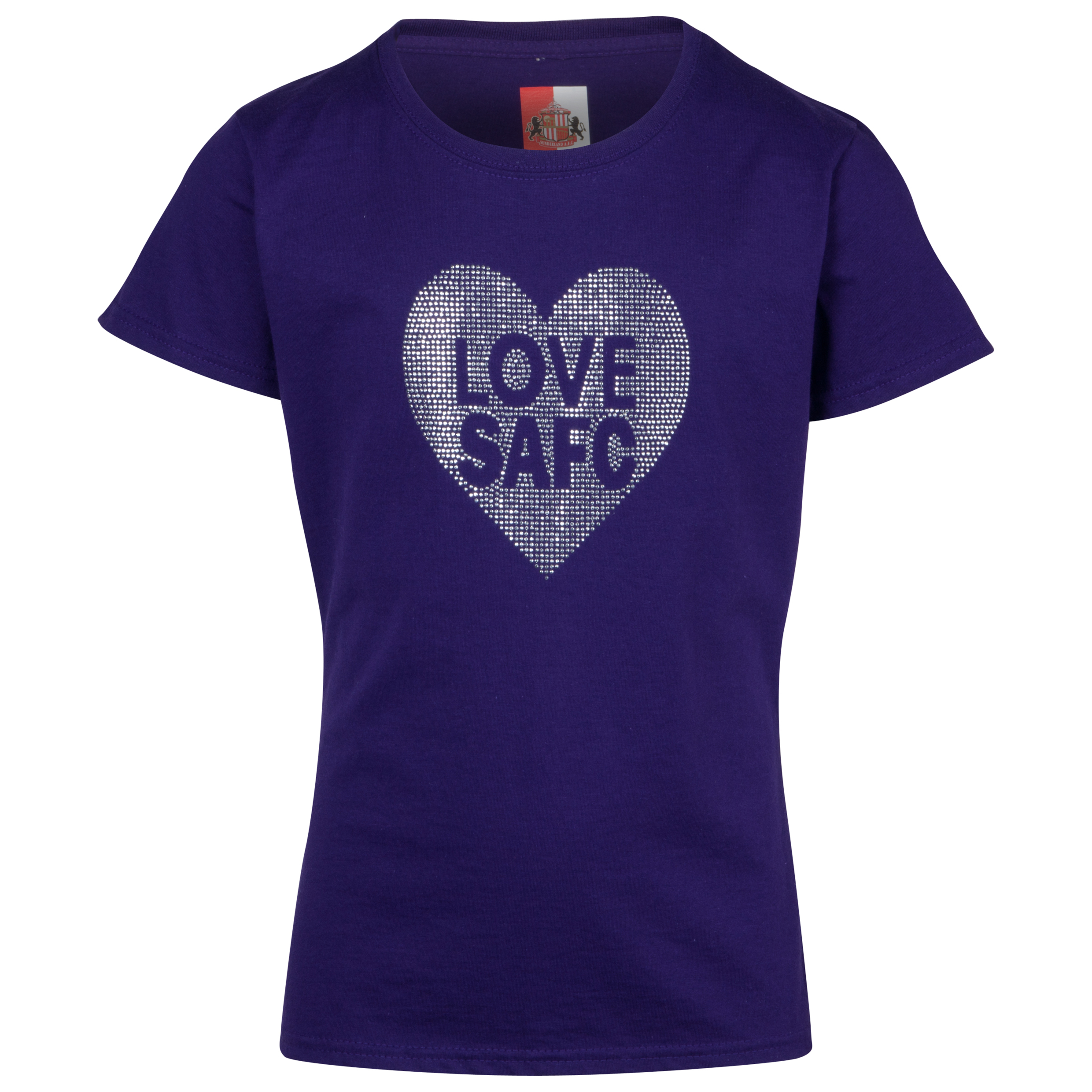 Sunderland Rhinestone Love T-Shirt- Girls Purple