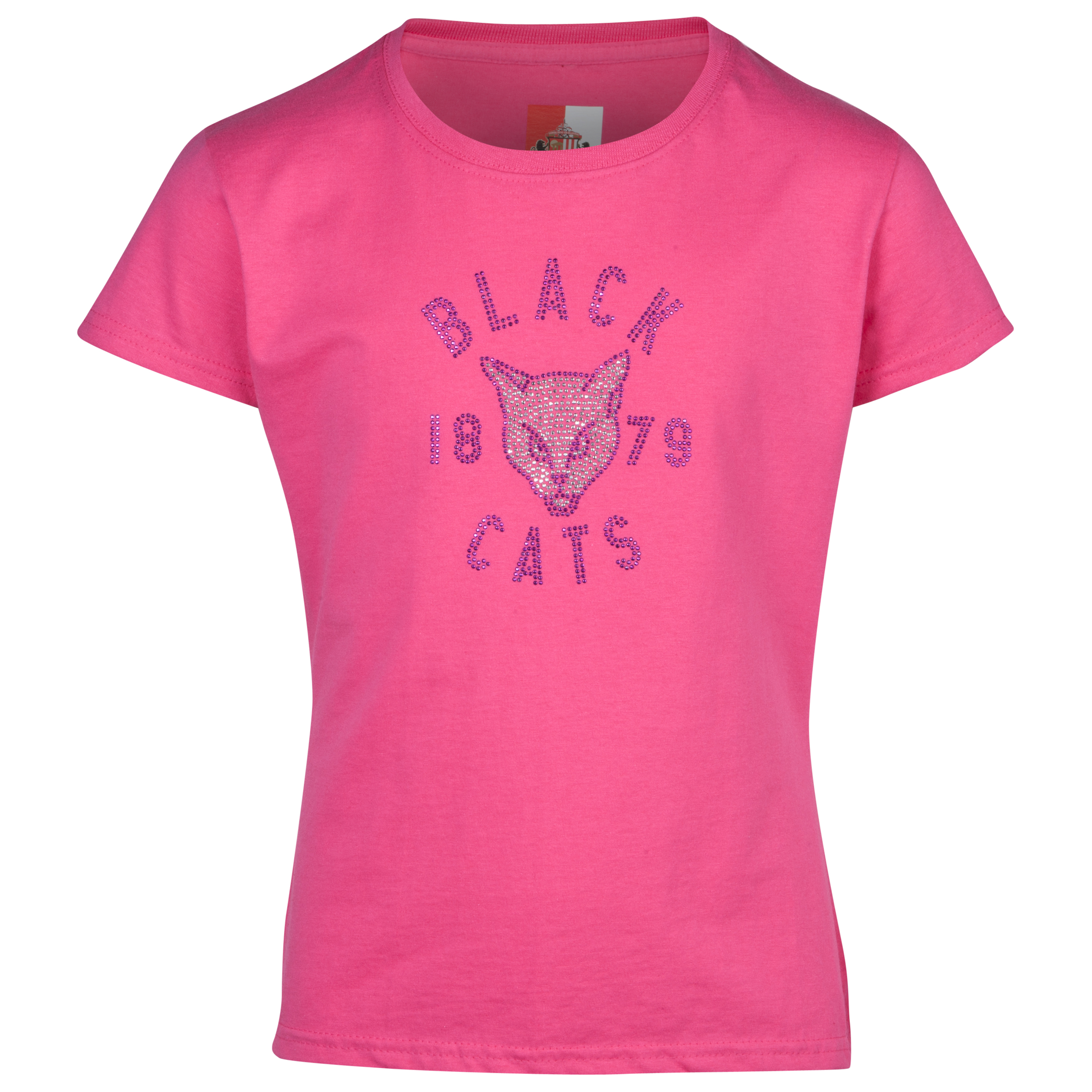 Sunderland Rhinestone Black Cat T-Shirt- Girls Pink