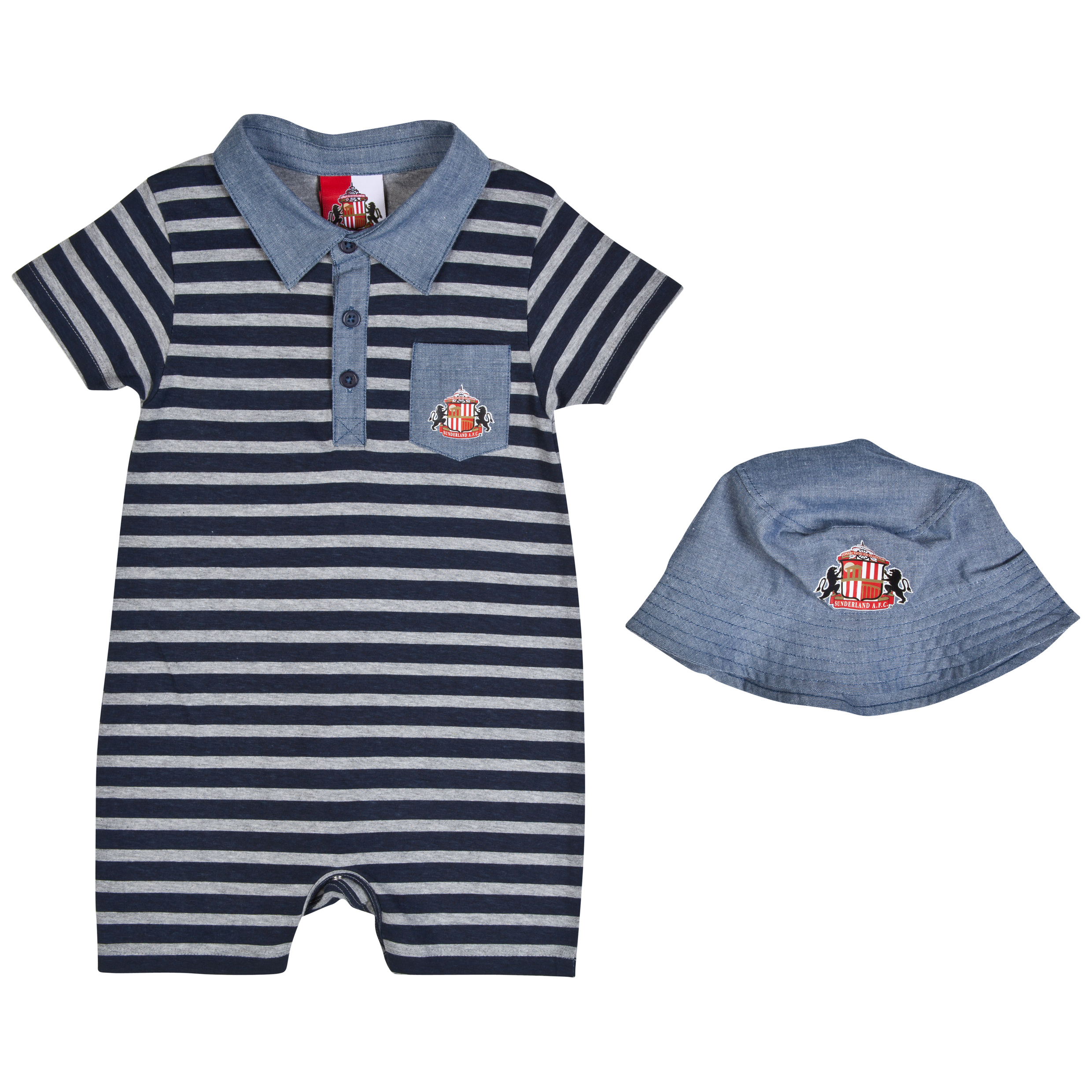 Sunderland Waves Romper & Hat-Baby Lt Grey