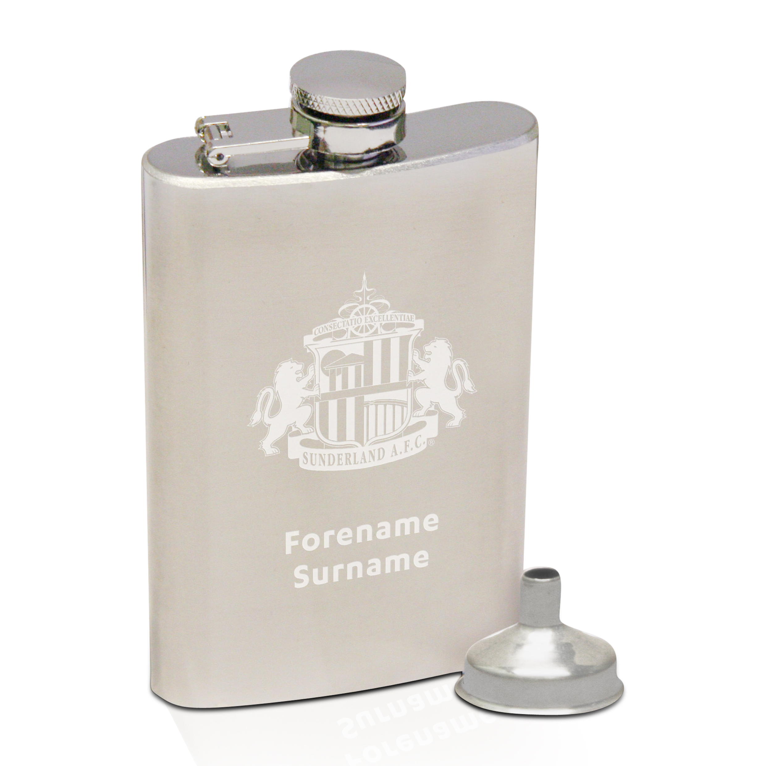 Sunderland Personalised Crest Hip Flask 6oz