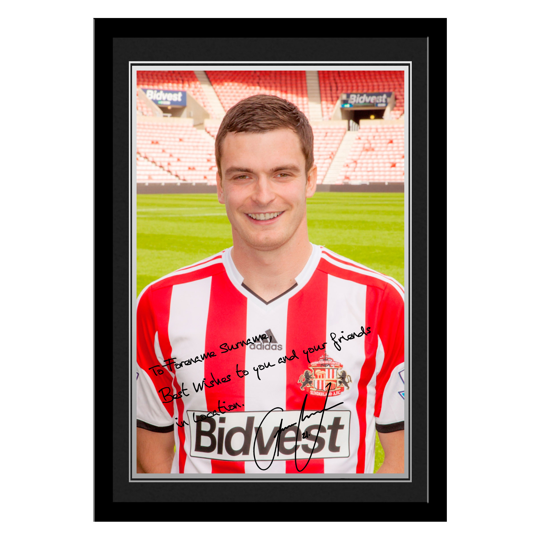 Sunderland Personalised Signature Photo Framed - Johnson