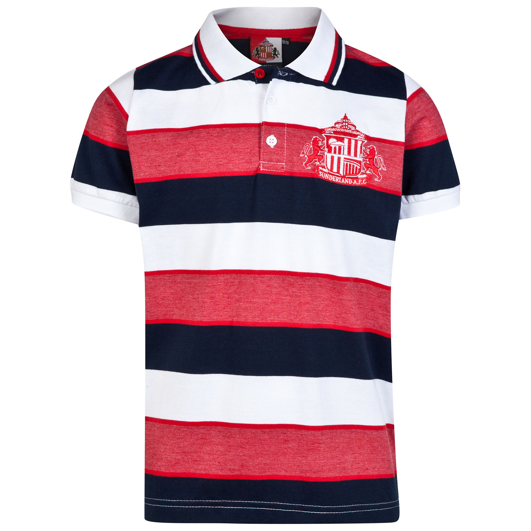 Sunderland Essential Stripe Polo Shirt - White/Navy/Red - Older Boys