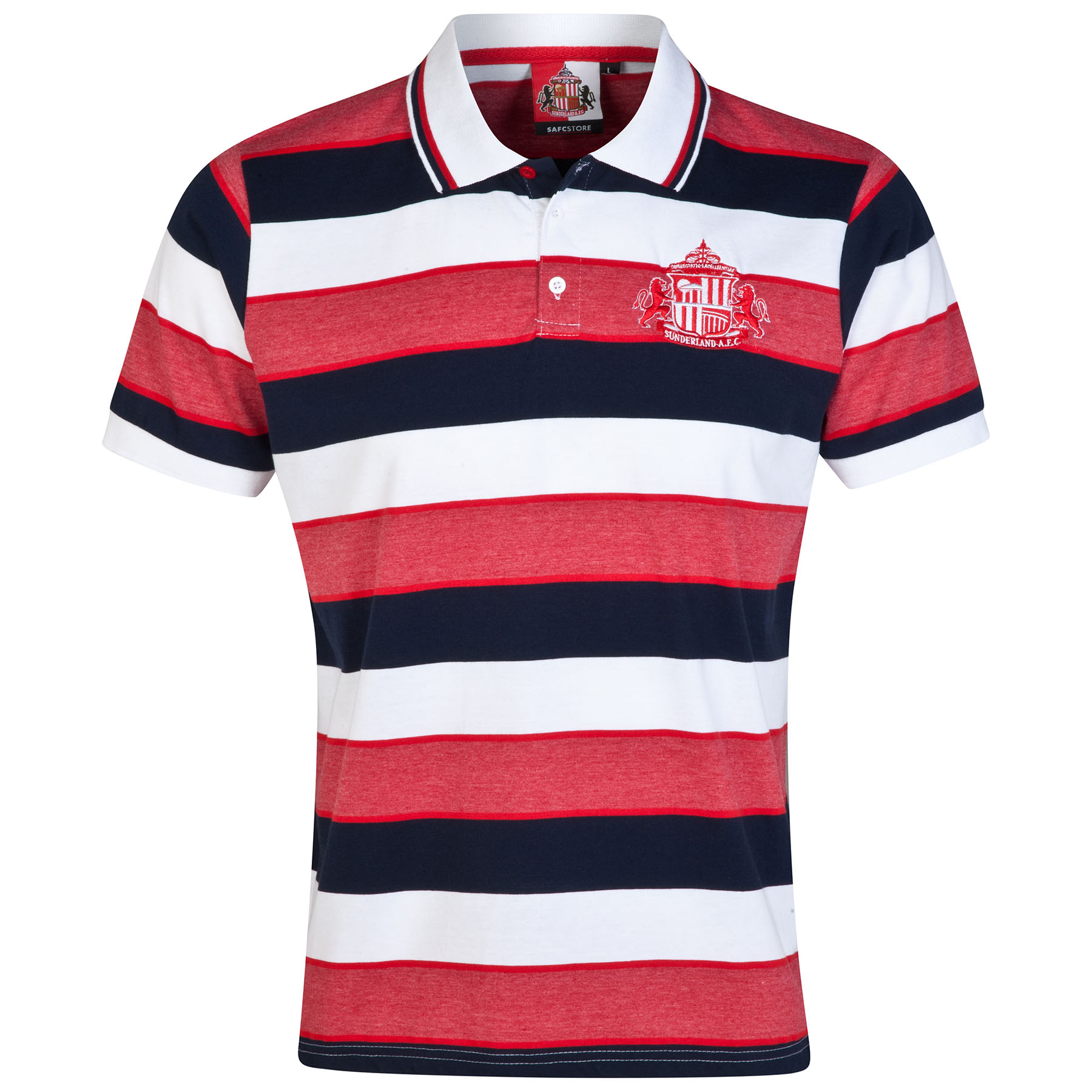 Sunderland Essential Stripe Polo Shirt - White/Navy/Red -Mens