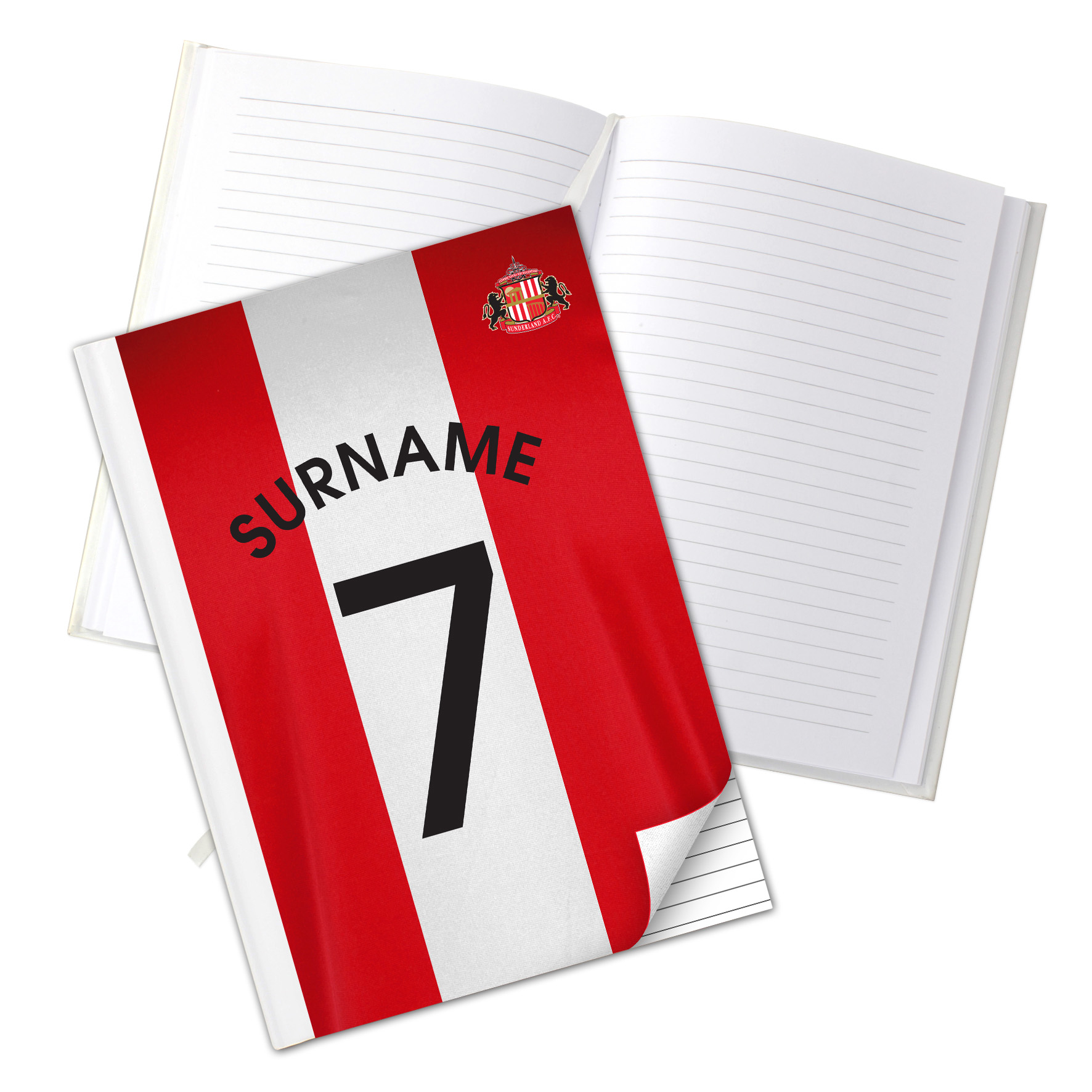 Sunderland Personalised Shirt Number A5 Hardback Notebook