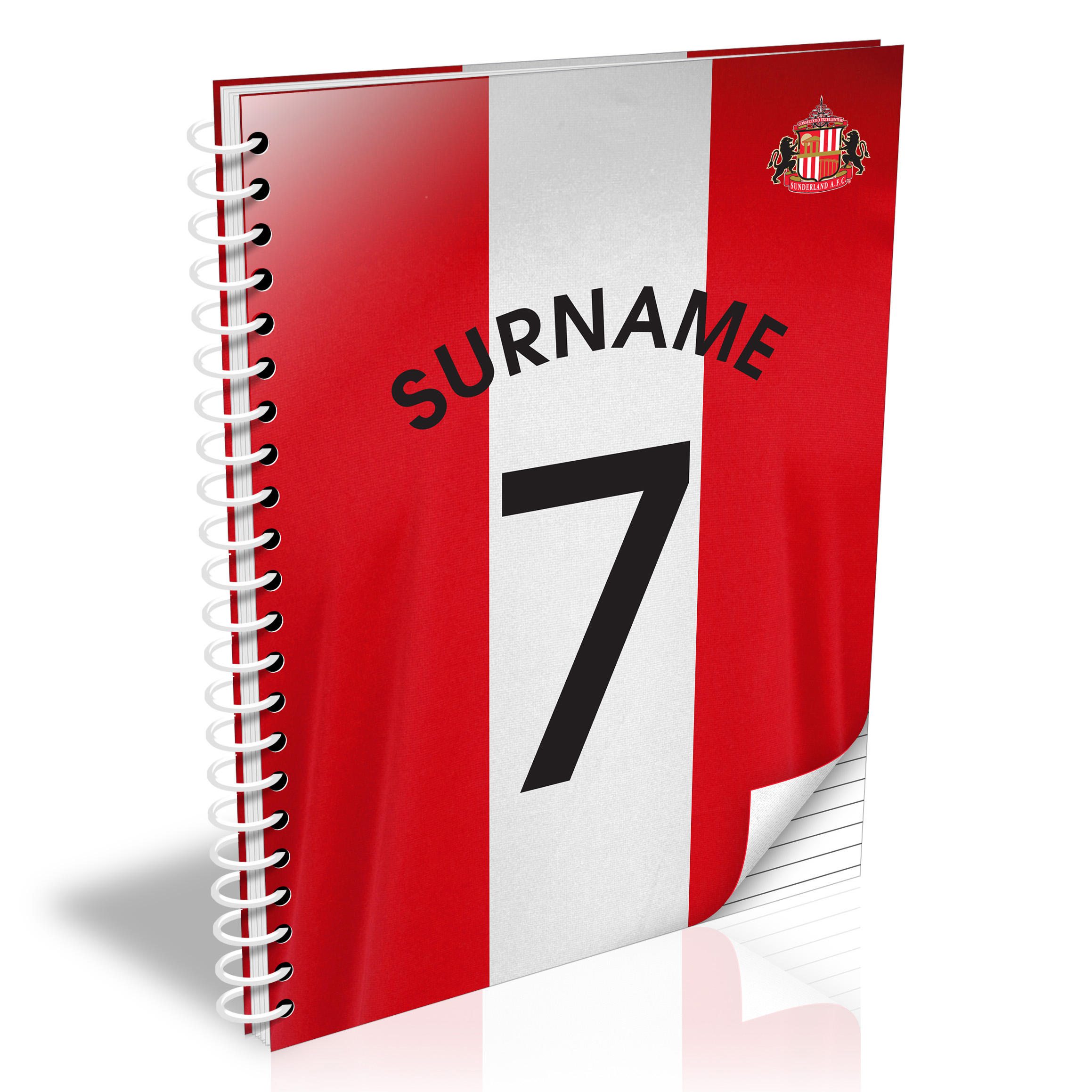 Sunderland Personalised Shirt Number A4 Paperback Notebook