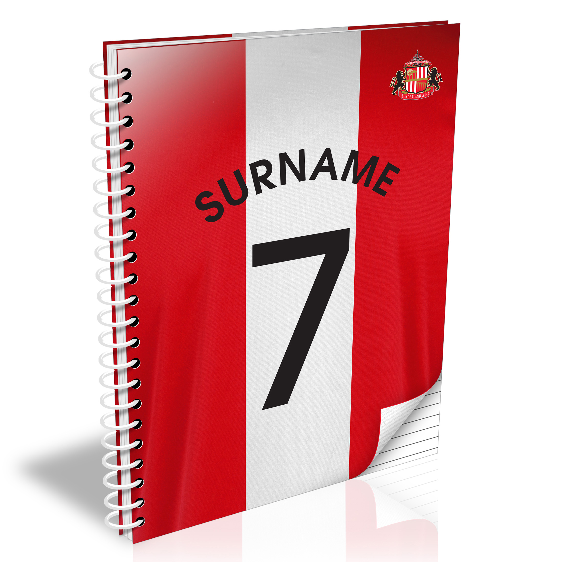 Sunderland Personalised Shirt Number A5 Paperback Notebook
