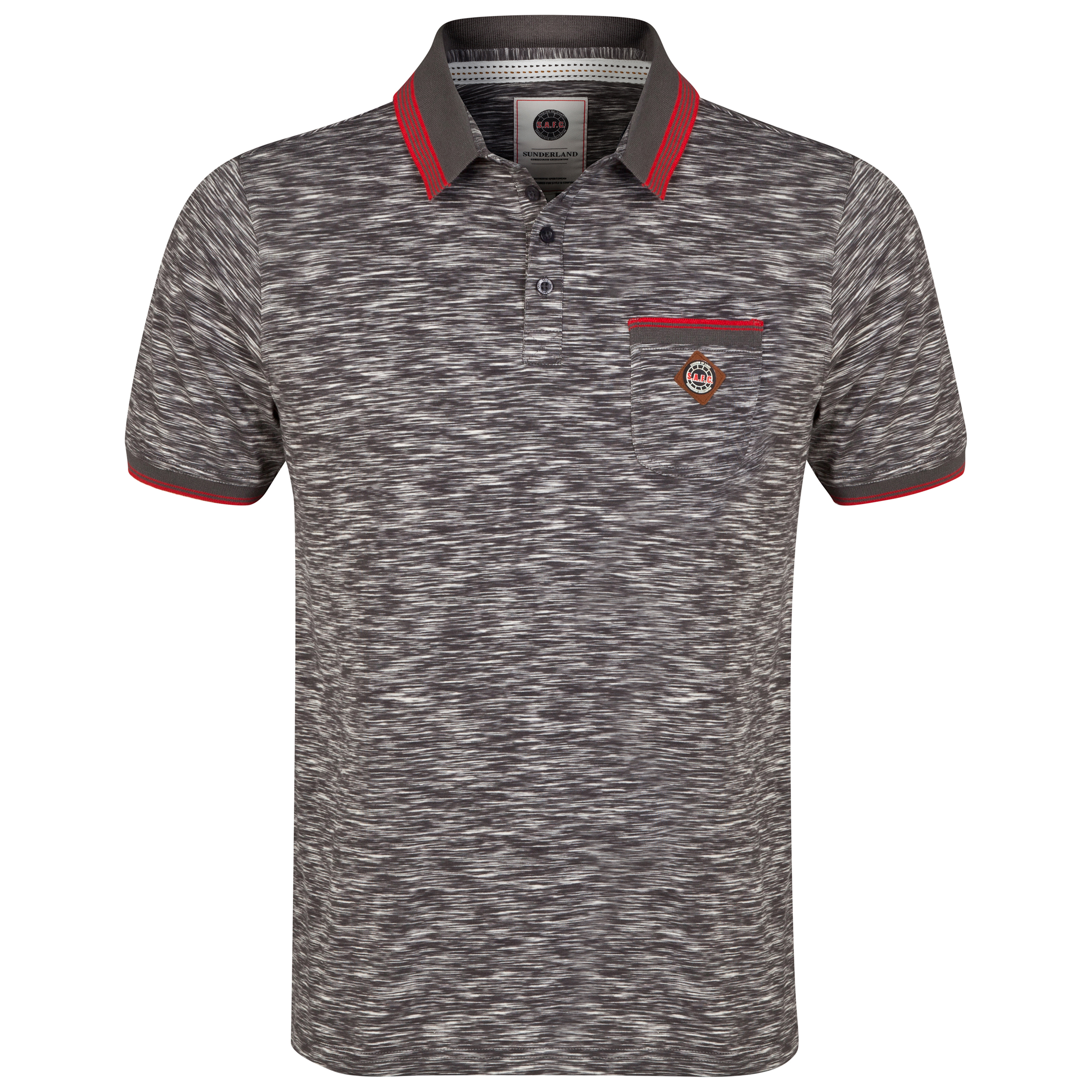 Sunderland Polo Shirt - Grey/Red - Mens