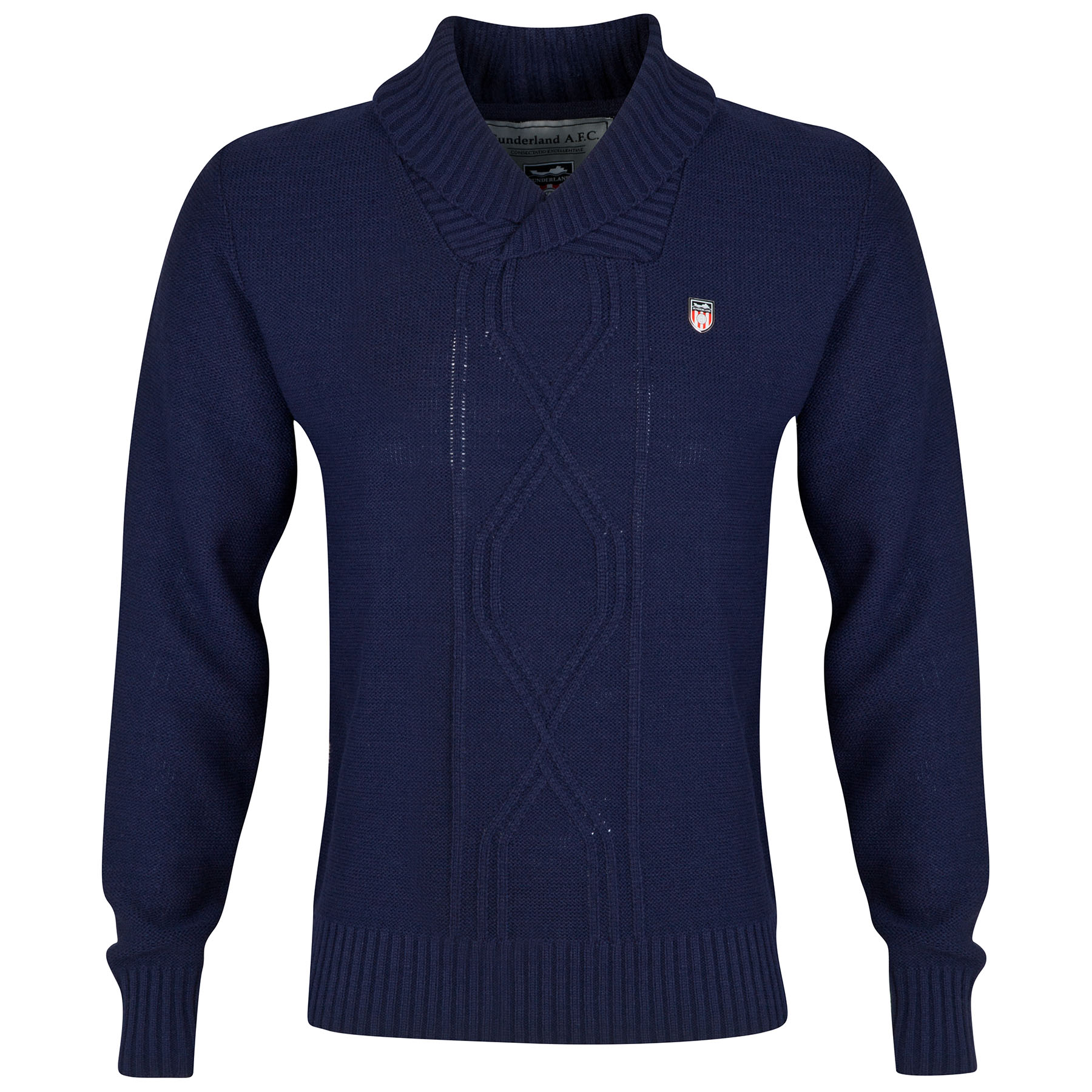 Sunderland Button Neck Jumper - Navy - Mens