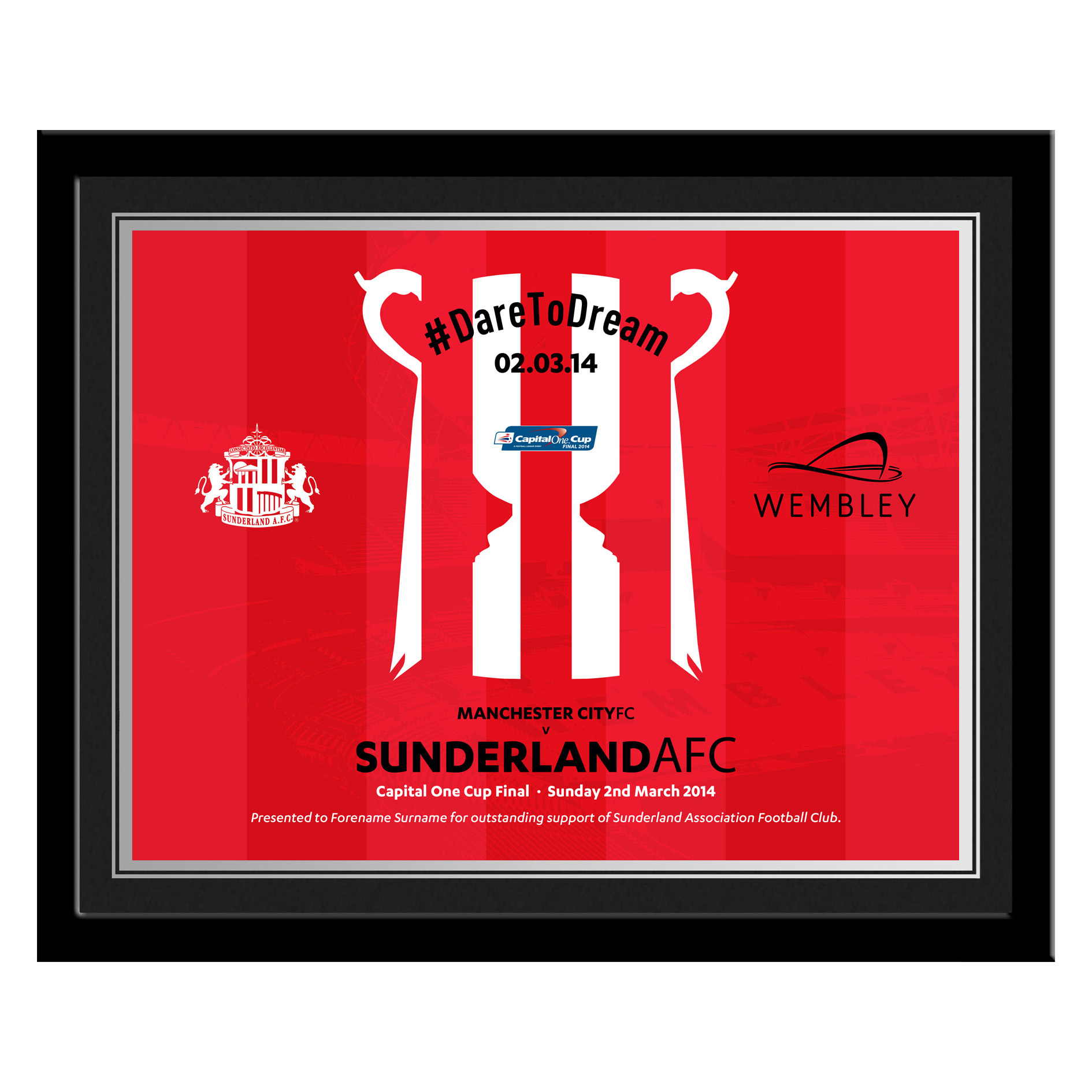 Sunderland Personalised Dare to Dream Frame