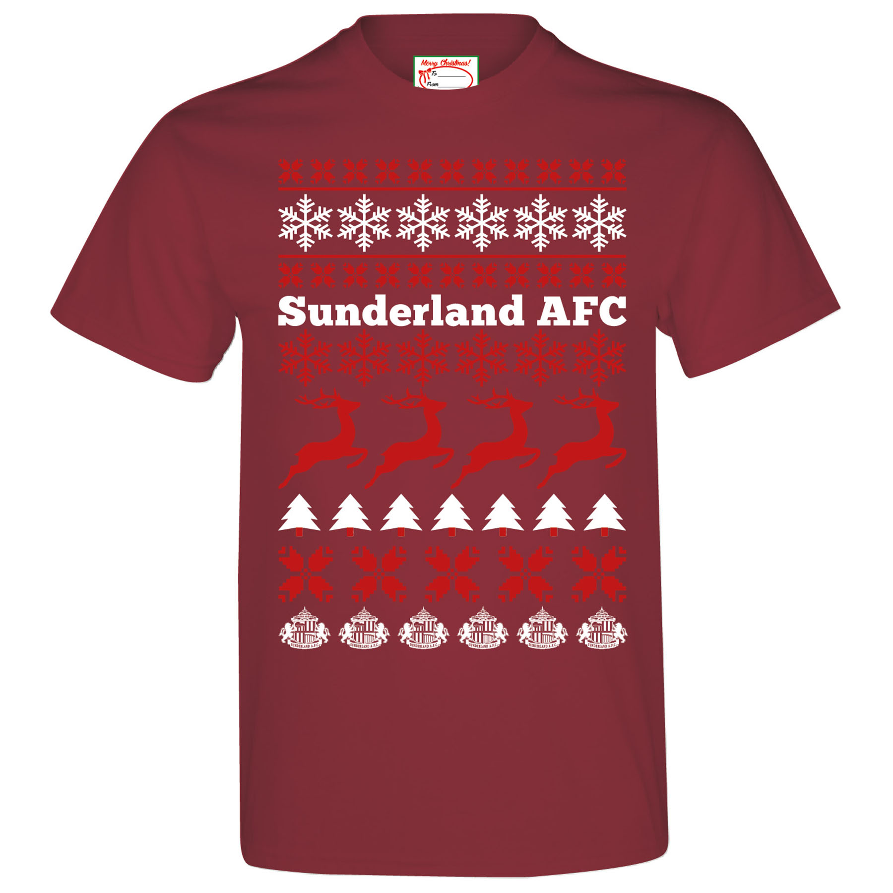 Sunderland 2for20 Festive T-Shirt-Maroon - Mens