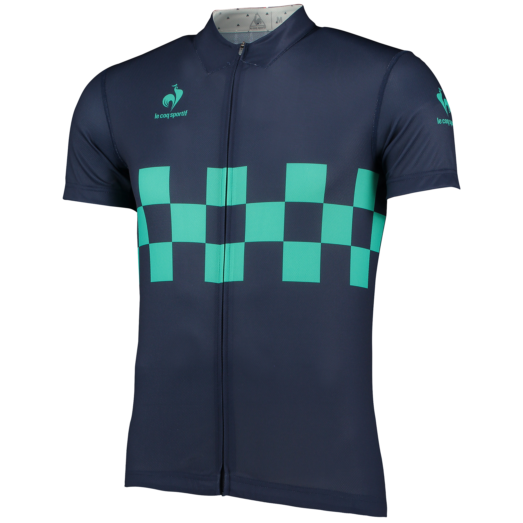 Le Coq Sportif Performance Checkered Jersey - Dress Blues
