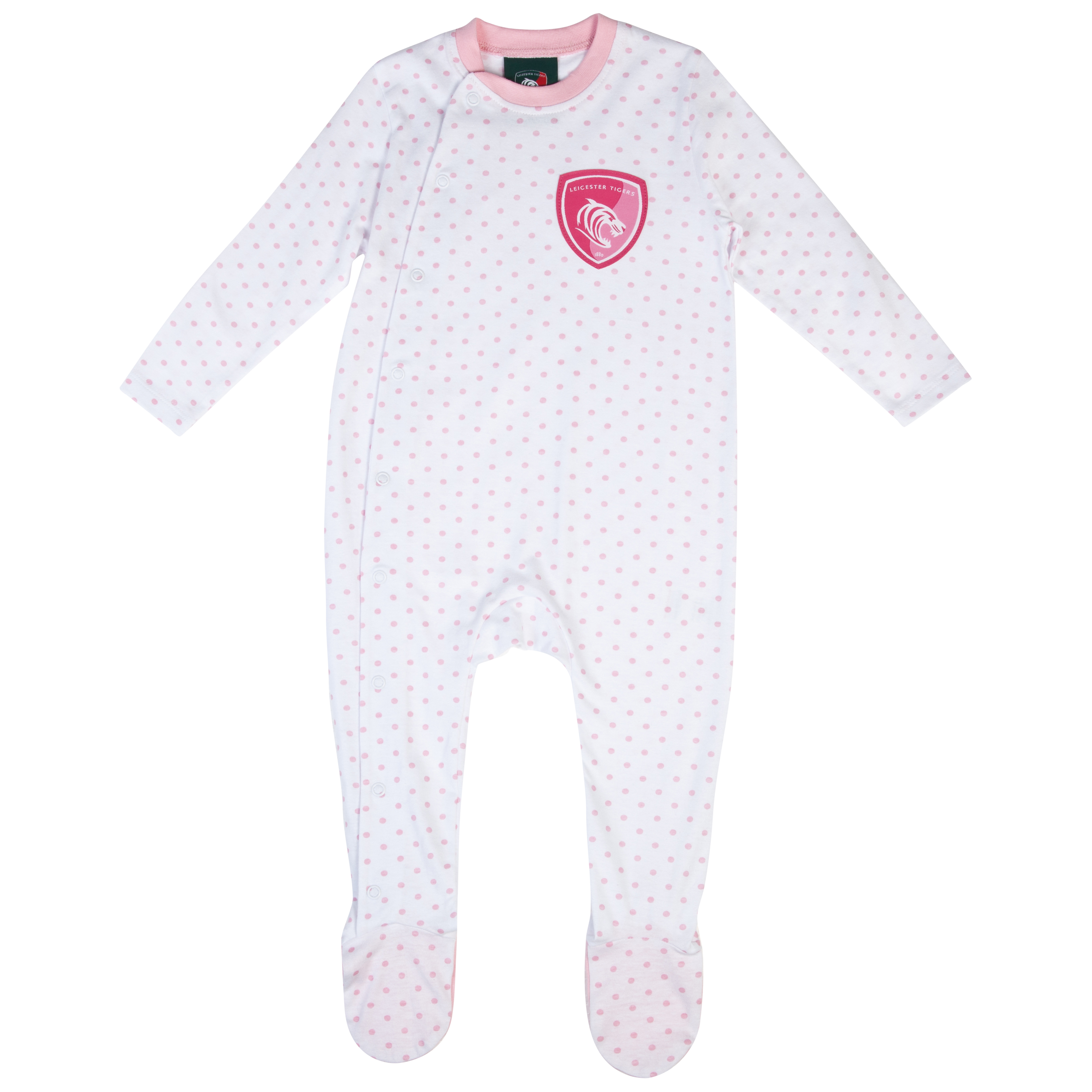 Leicester Tigers Dotty Sleepsuit - White/Pink - Baby