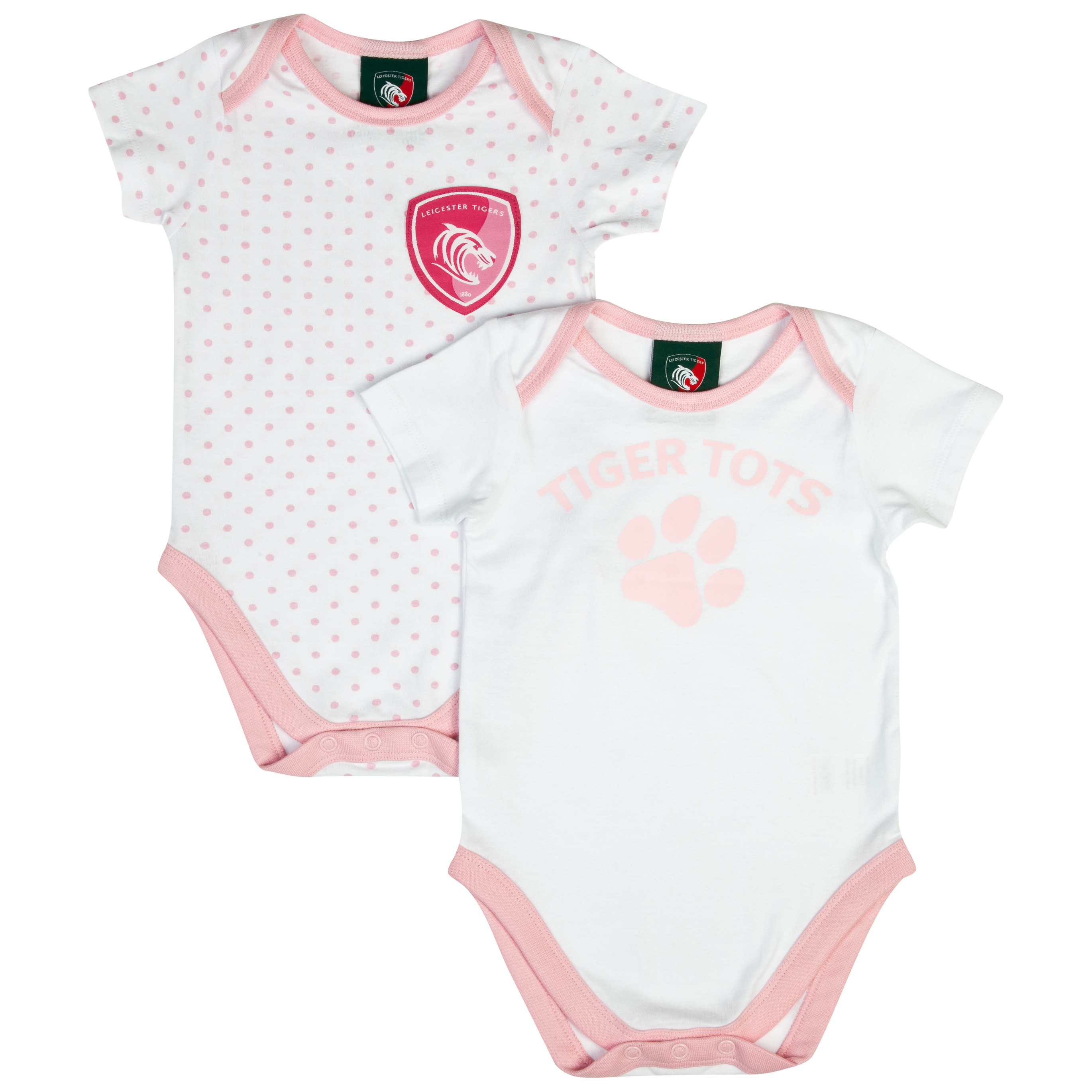 Leicester Tigers Pack of 2 Pawprint Bodysuits - White/Pink - Baby. for 14€