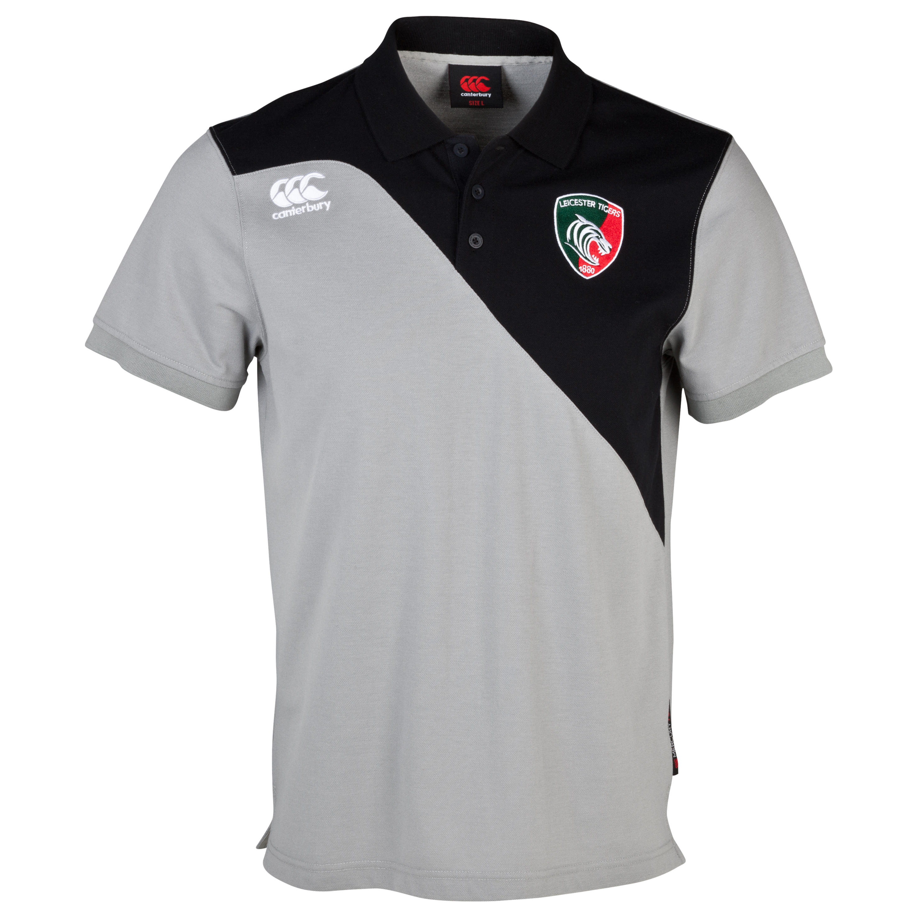 Leicester Tigers Training Cotton Polo Lt Grey