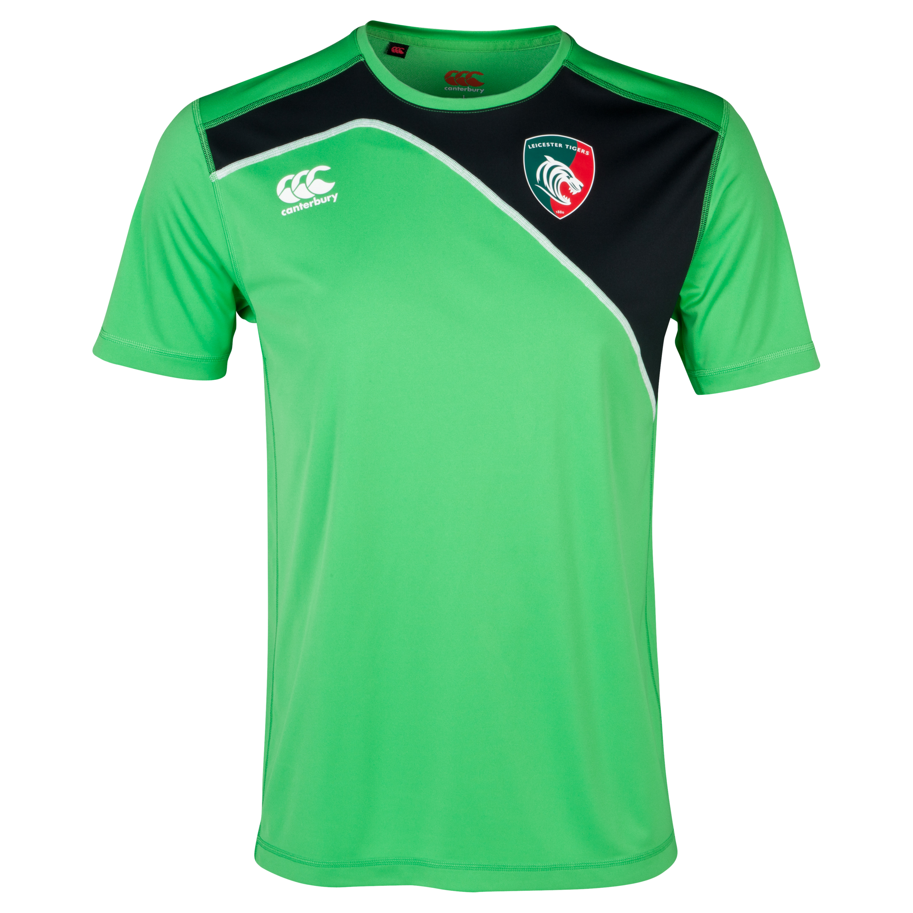 Leicester Tigers Cut and Sew Dry T-Shirt Green