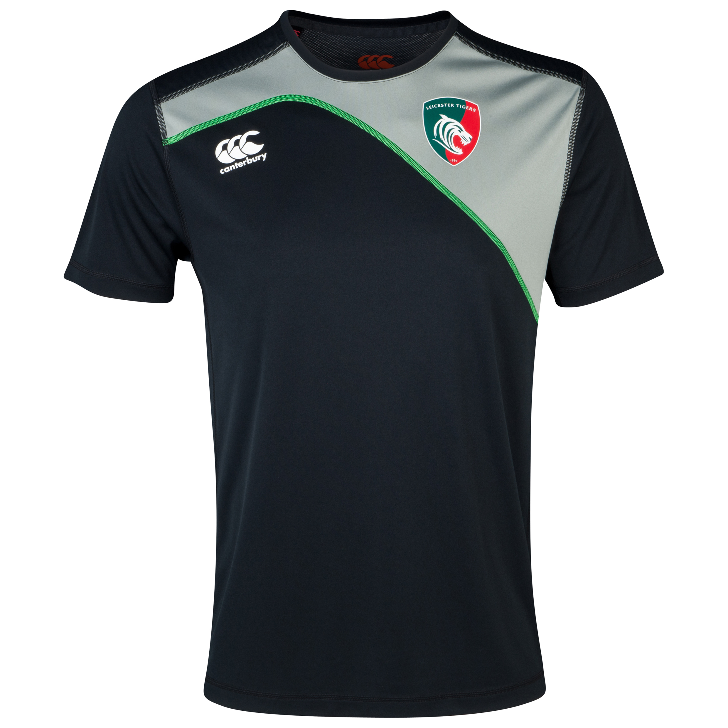 Leicester Tigers Cut and Sew Dry T-Shirt Grey
