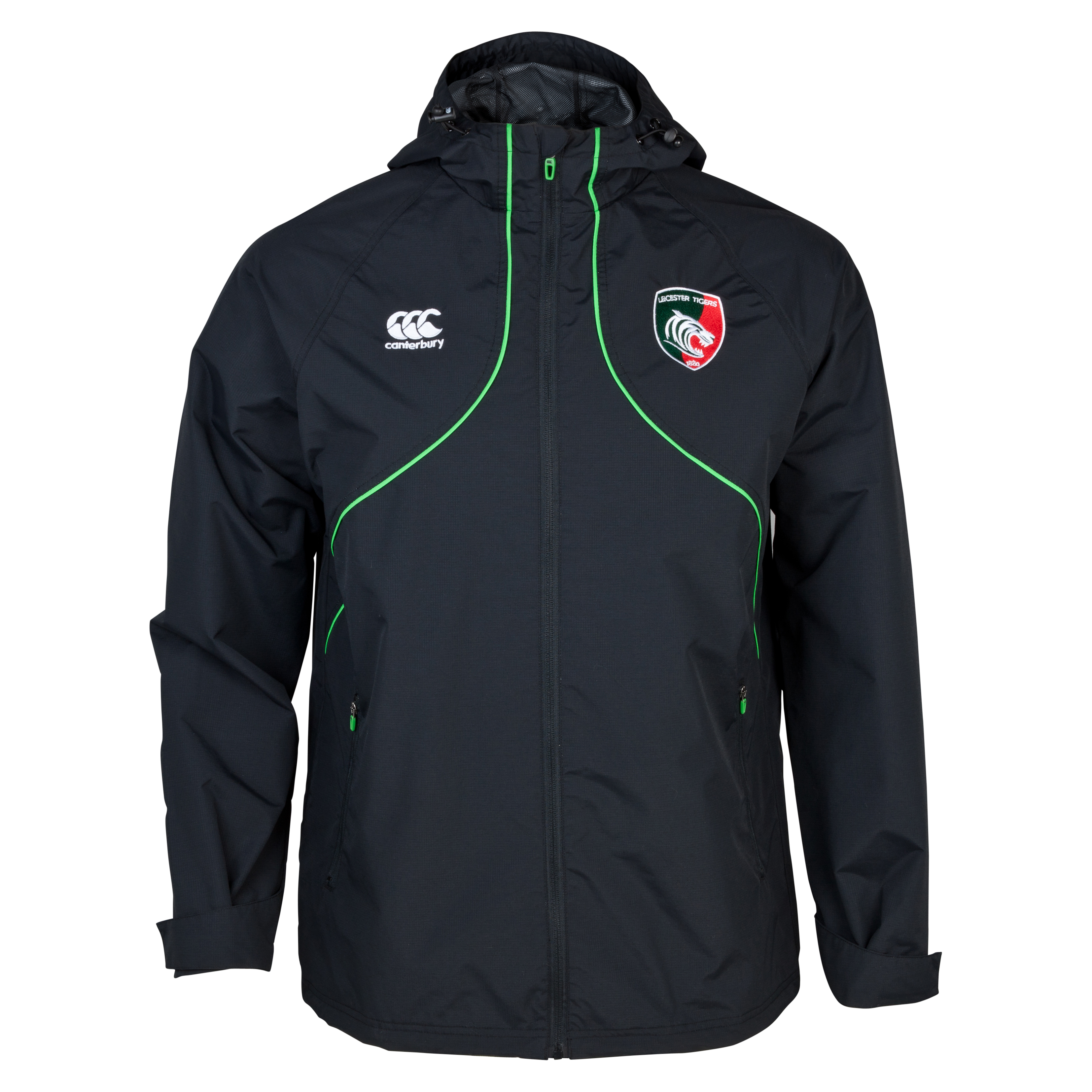 Leicester Tigers Full Zip Rain Jacket Grey