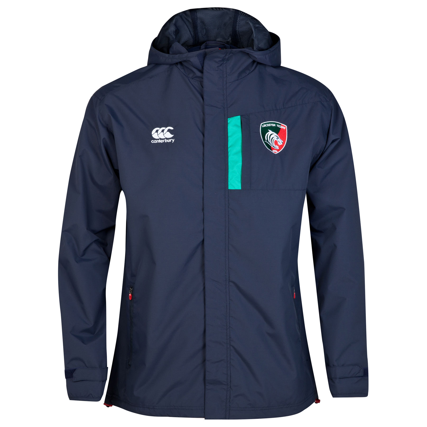 Leicester Tigers Full Zip Shower Jacket Navy