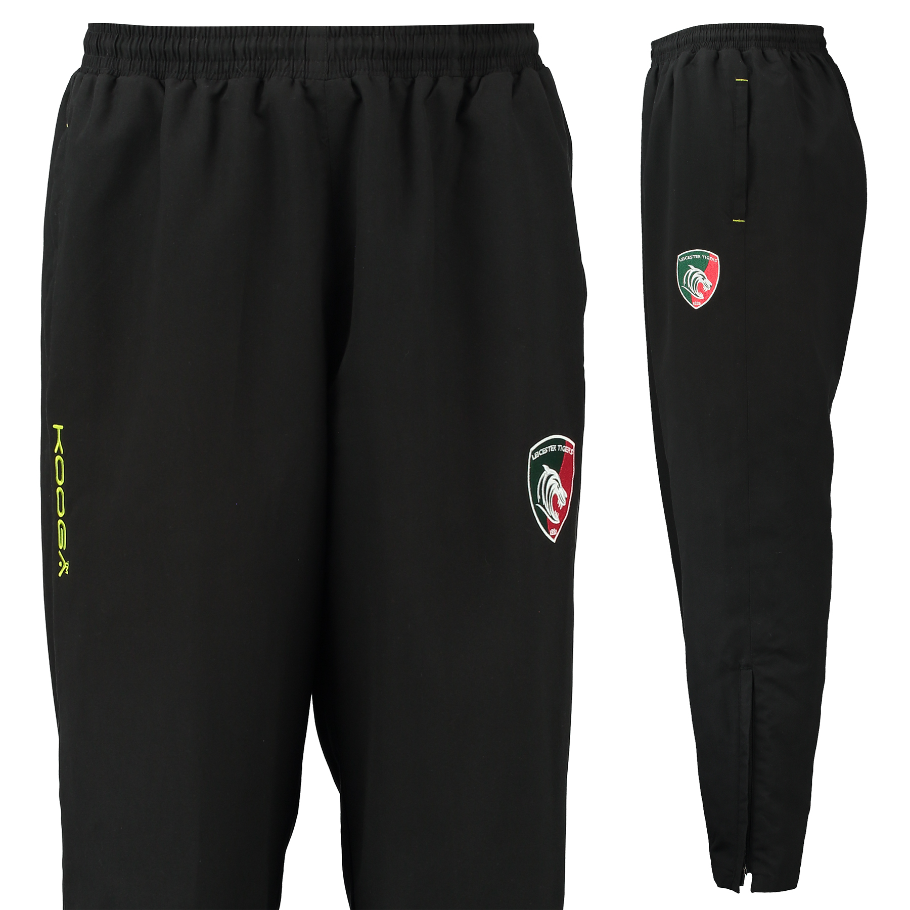 Leicester Tigers Microfibre Track Pant - Black/Fluro Green
