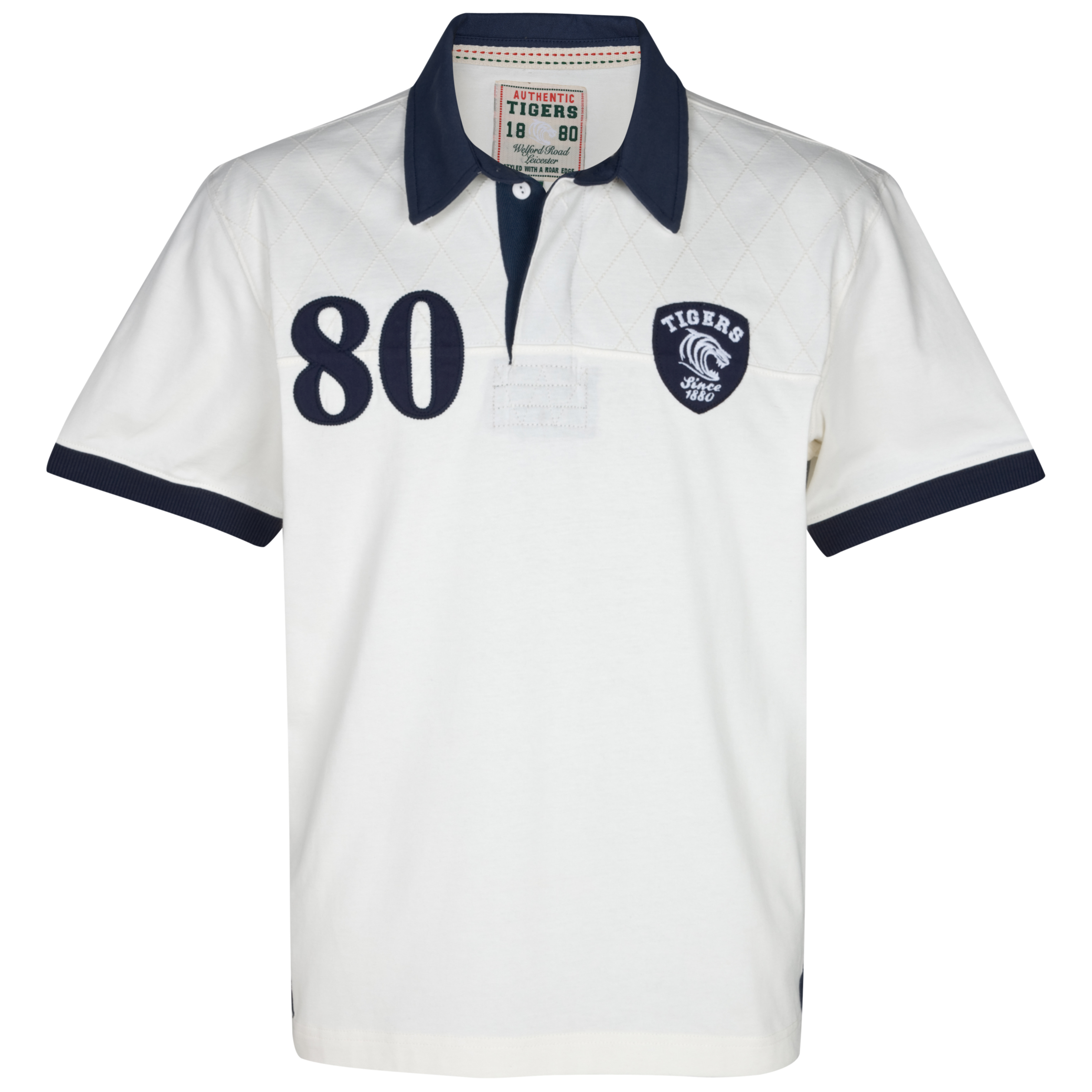 Leicester Tigers Walnut Quilted Polo Top - Ecru/Navy. for 30€