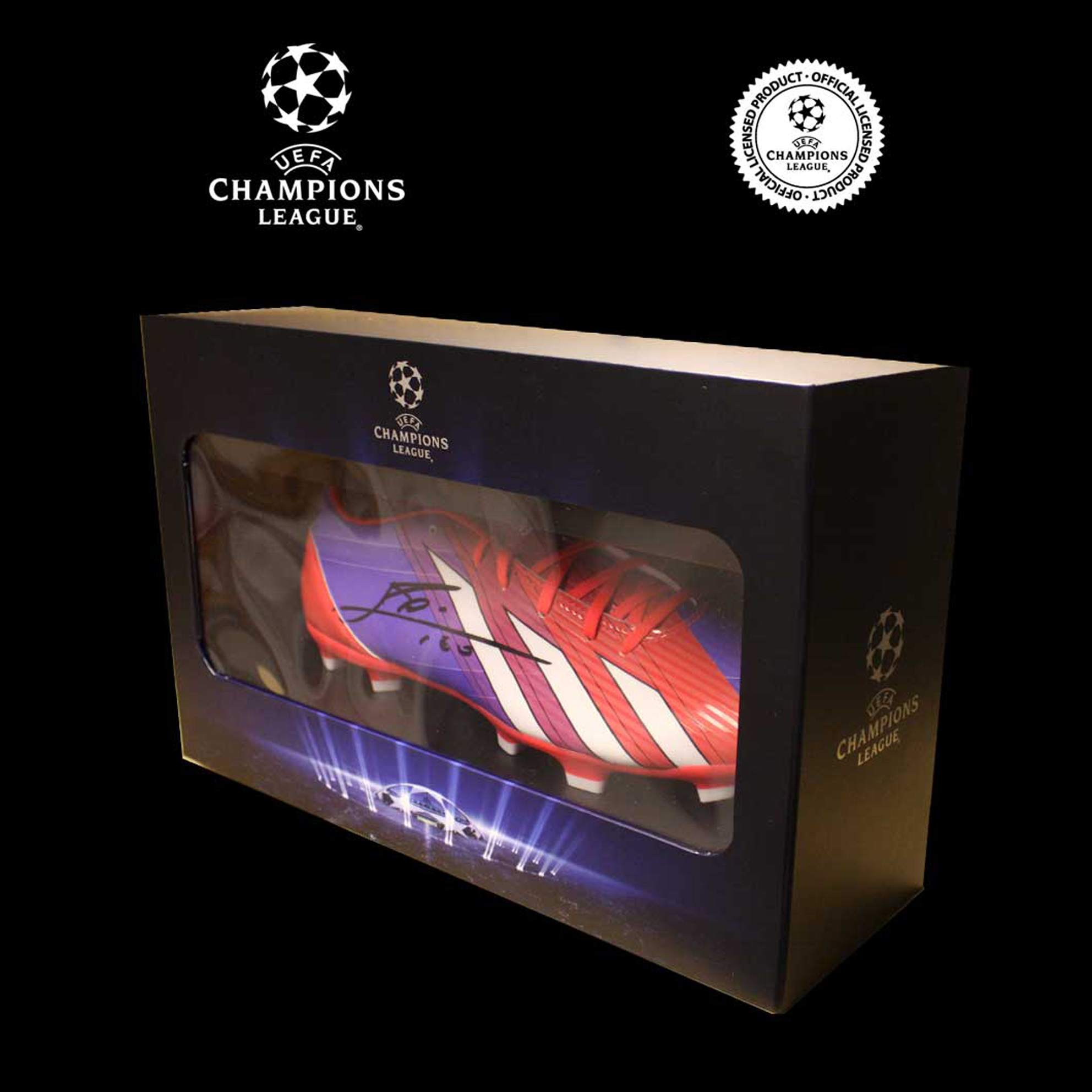 UEFA Champions League Leo Messi Signed AdiZero III Adidas Boot In Deluxe Packaging