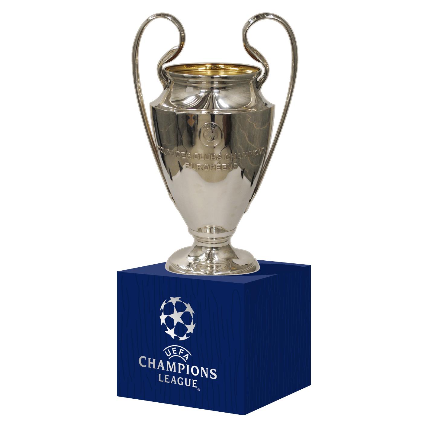 UEFA Champions League Trophy 70mm on Wooden Pedestal