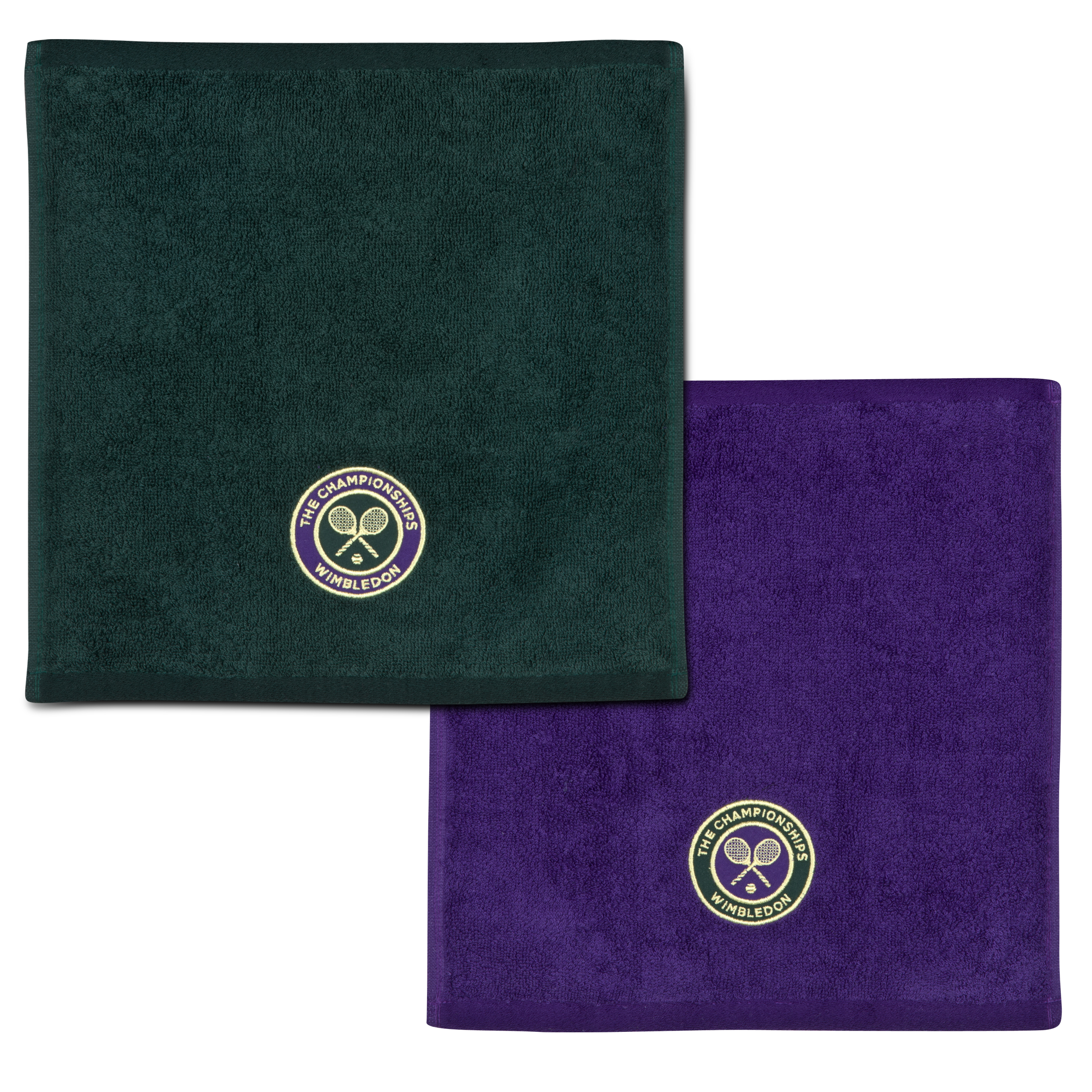 Wimbledon Mens Face Cloth Double Pack - Green/Purple