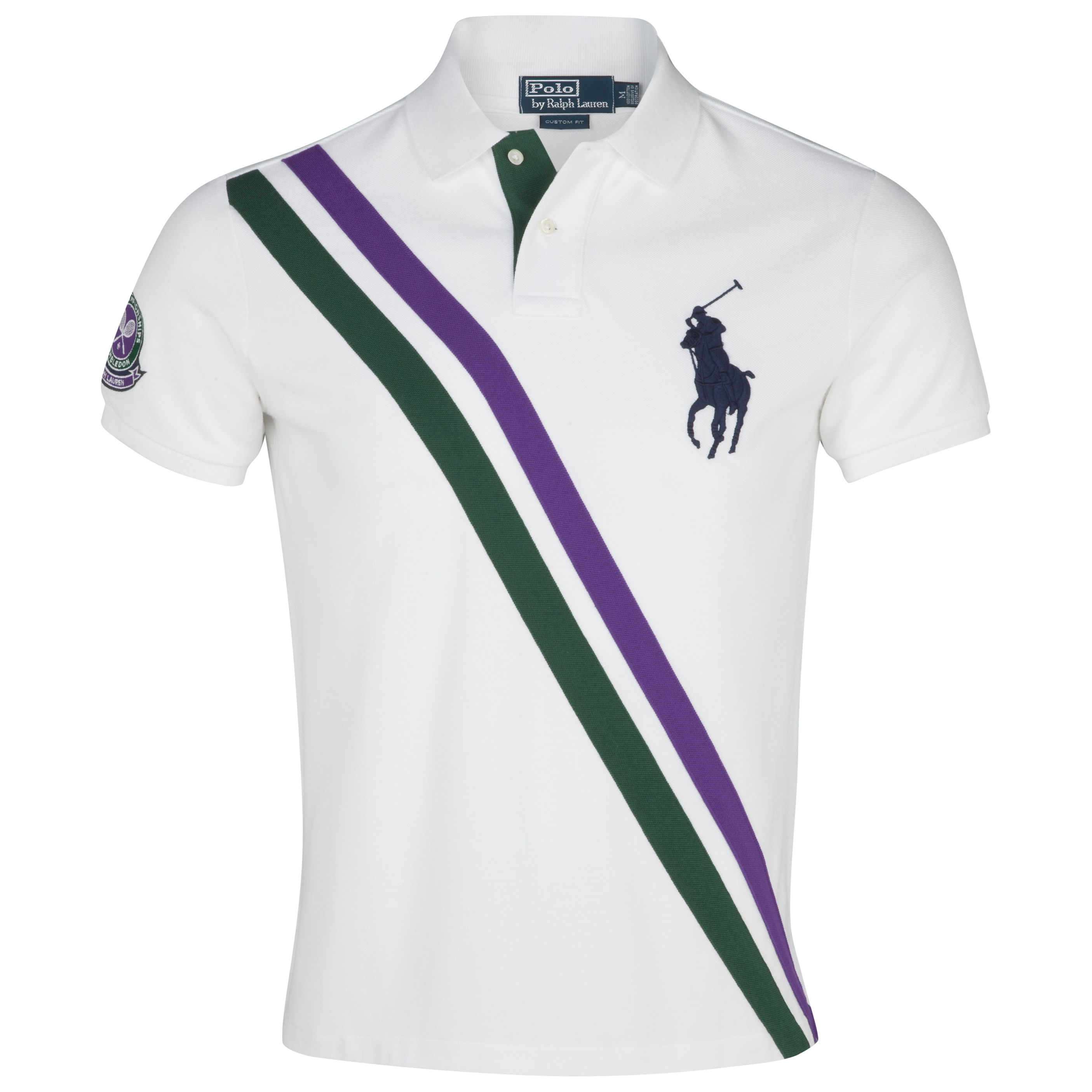 Polo Ralph Lauren Wimbledon Short Sleeve Polo - Oxford White/Northwest Pine/Purple