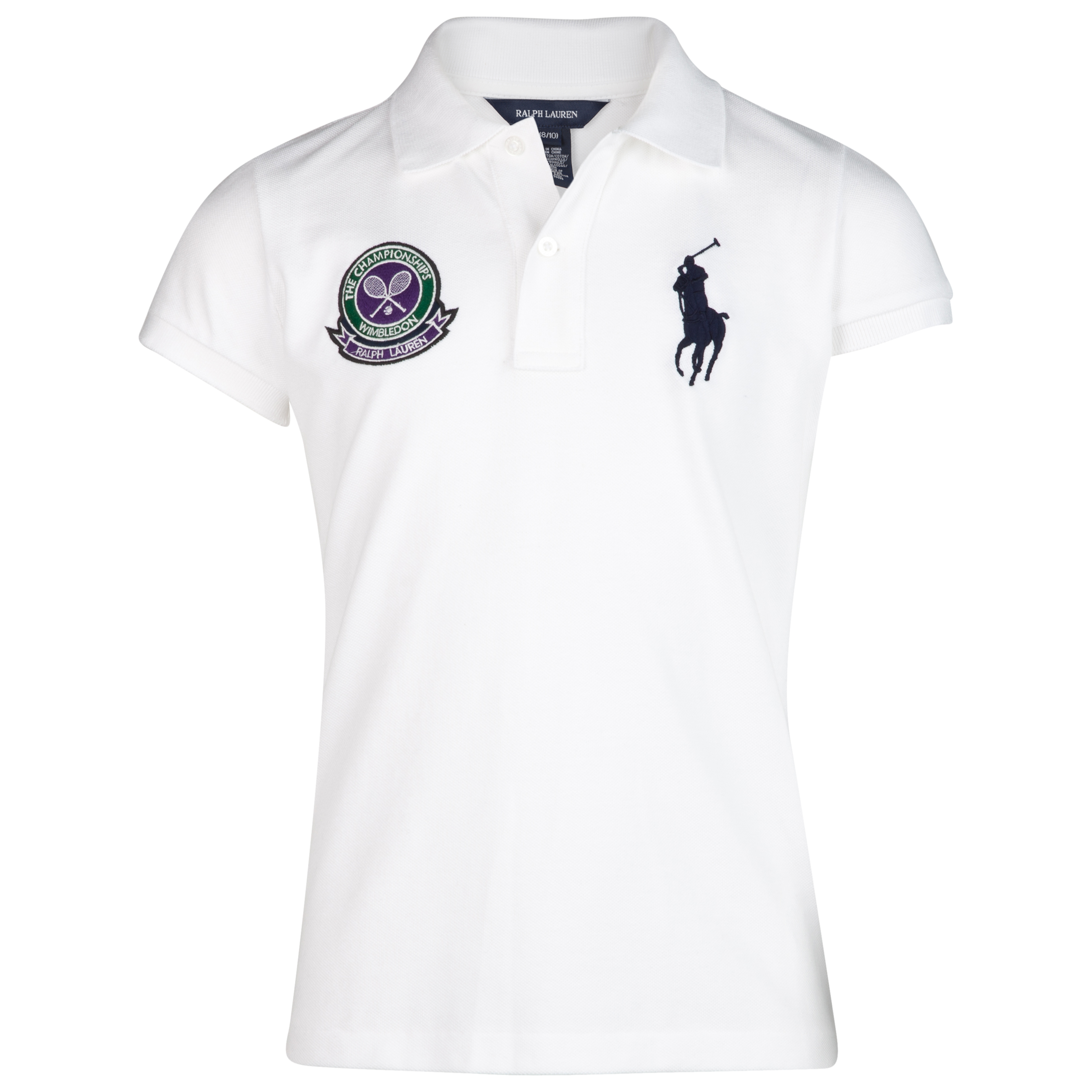 Polo Ralph Lauren Wimbledon Big PP Mesh Polo - White - Girls