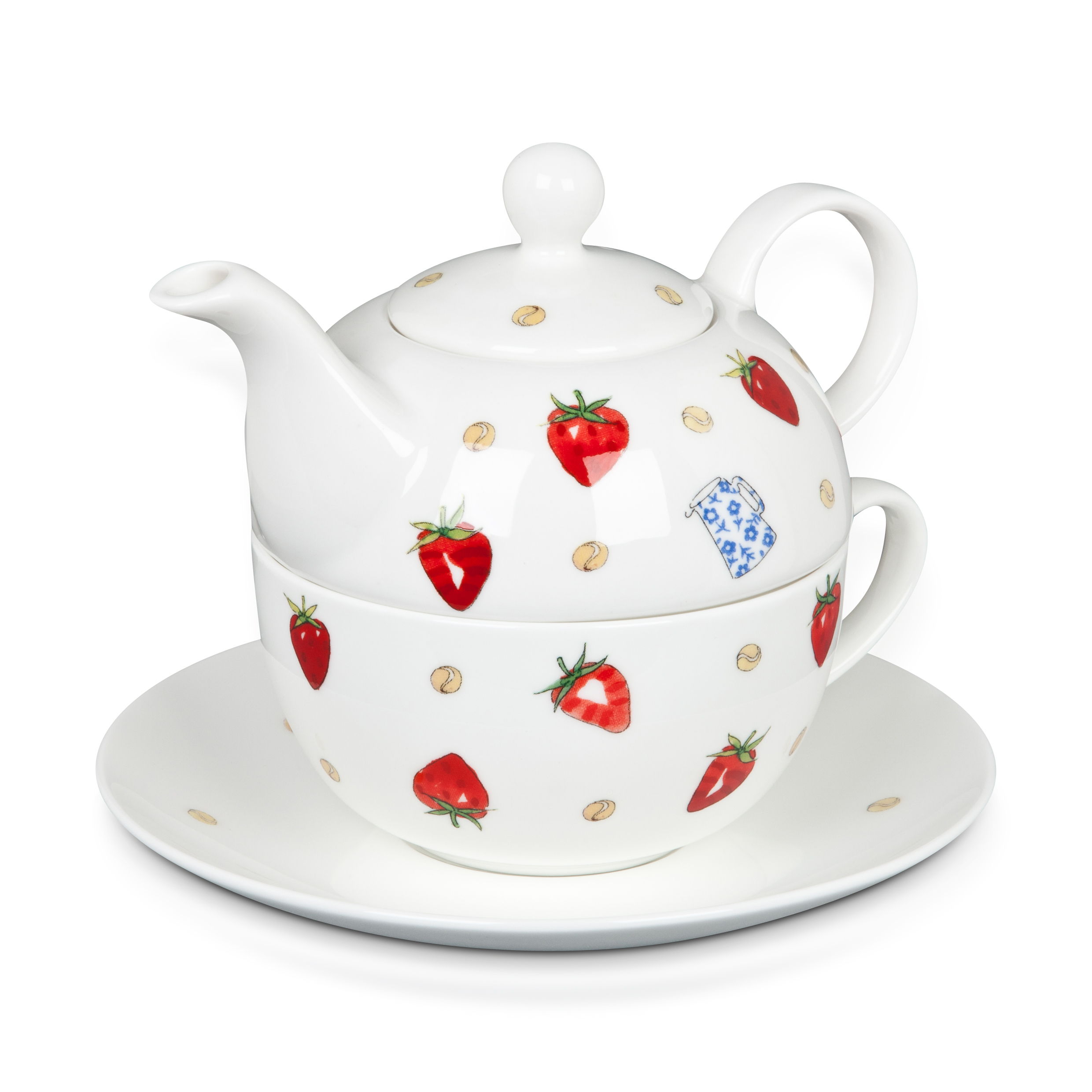 Wimbledon Strawberries and Cream Tea for One Set - White