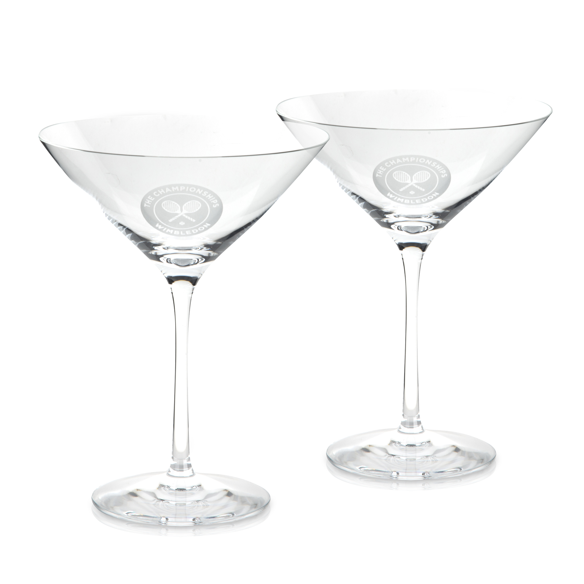 Wimbledon Set Of Two Crystal Martini Glasses