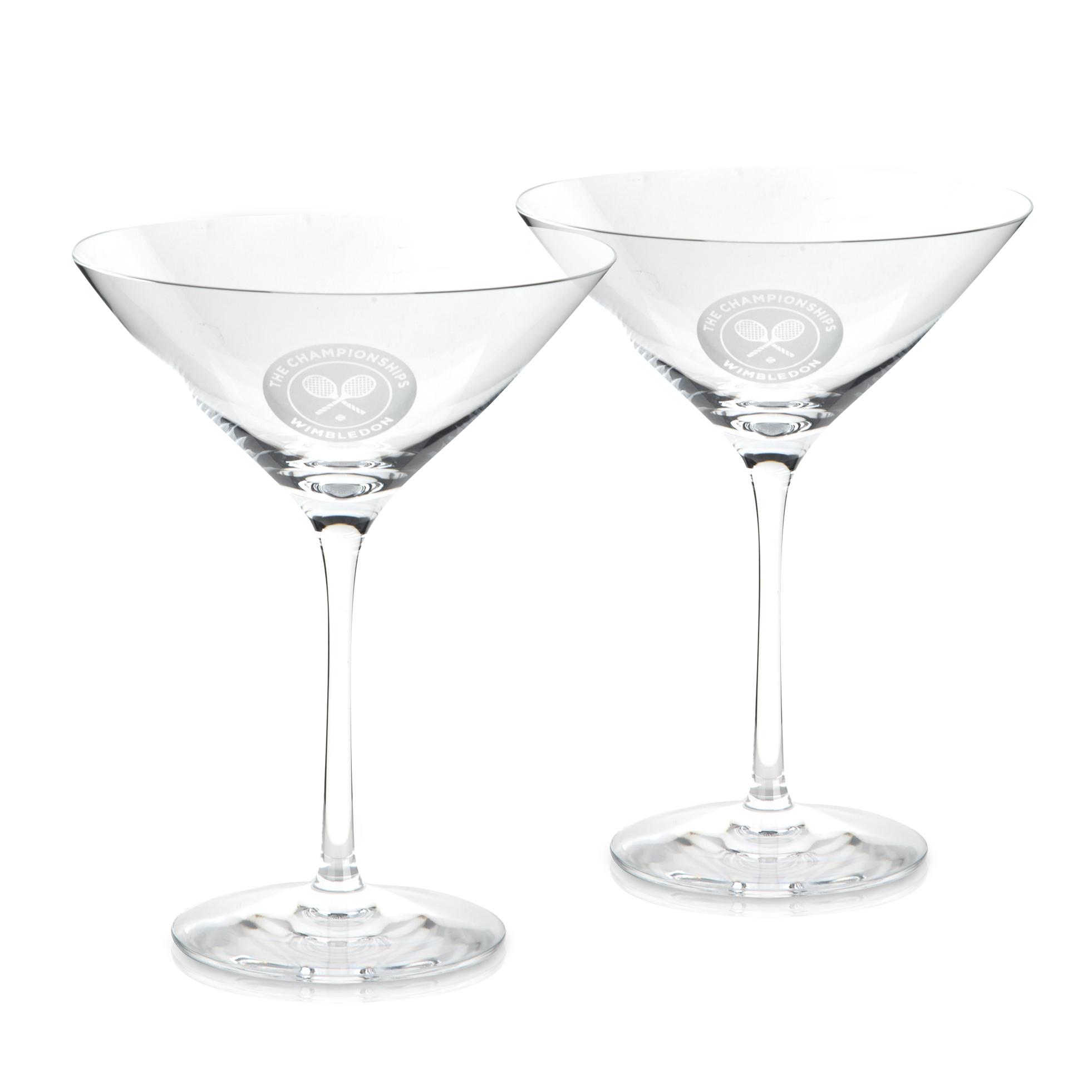 Wimbledon Set Of Two Crystal Martini Glasses