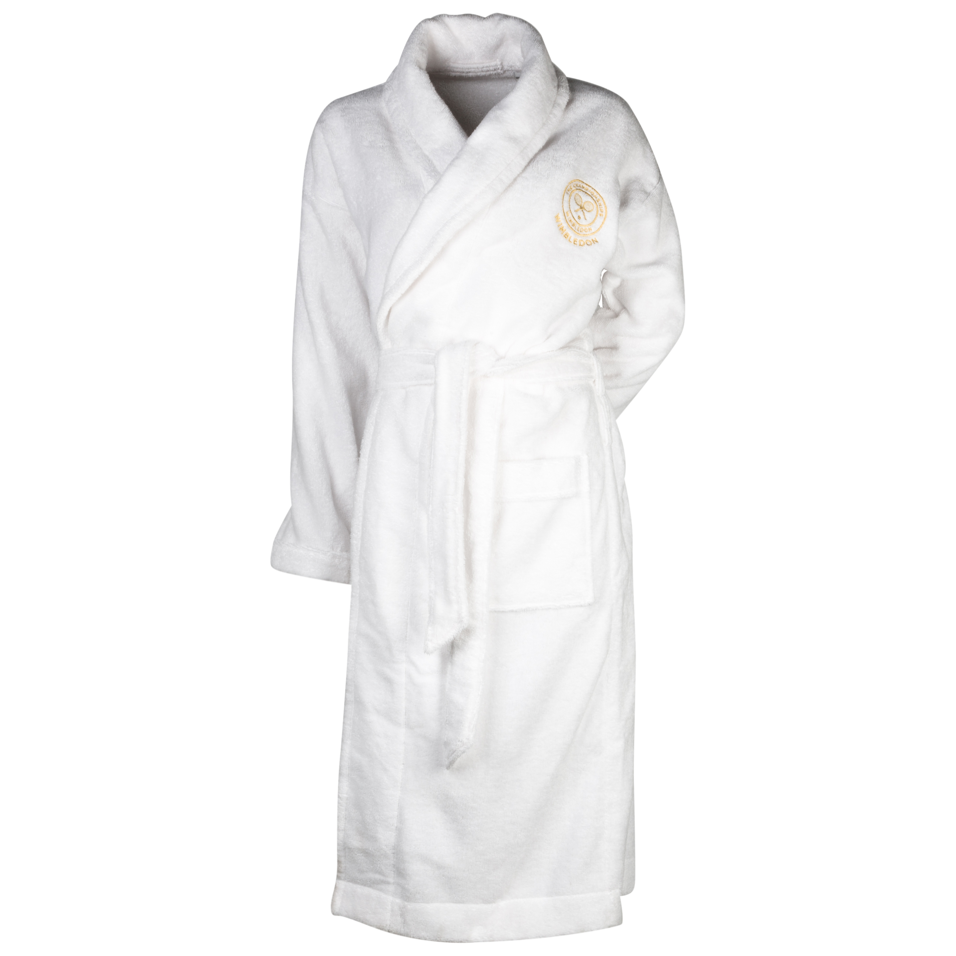 Wimbledon Ringspun Cotton Shawl Collar Robe - White - Unisex