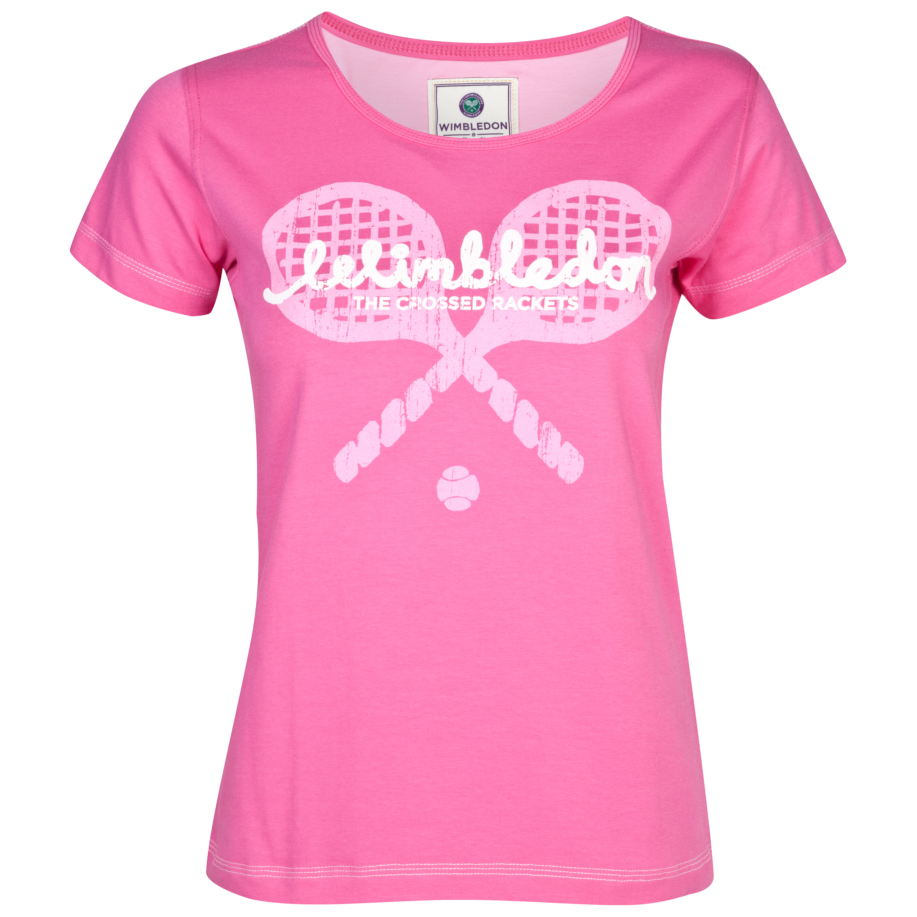 Wimbledon Large Rackets Print T-Shirt - Ladies - Bright Pink
