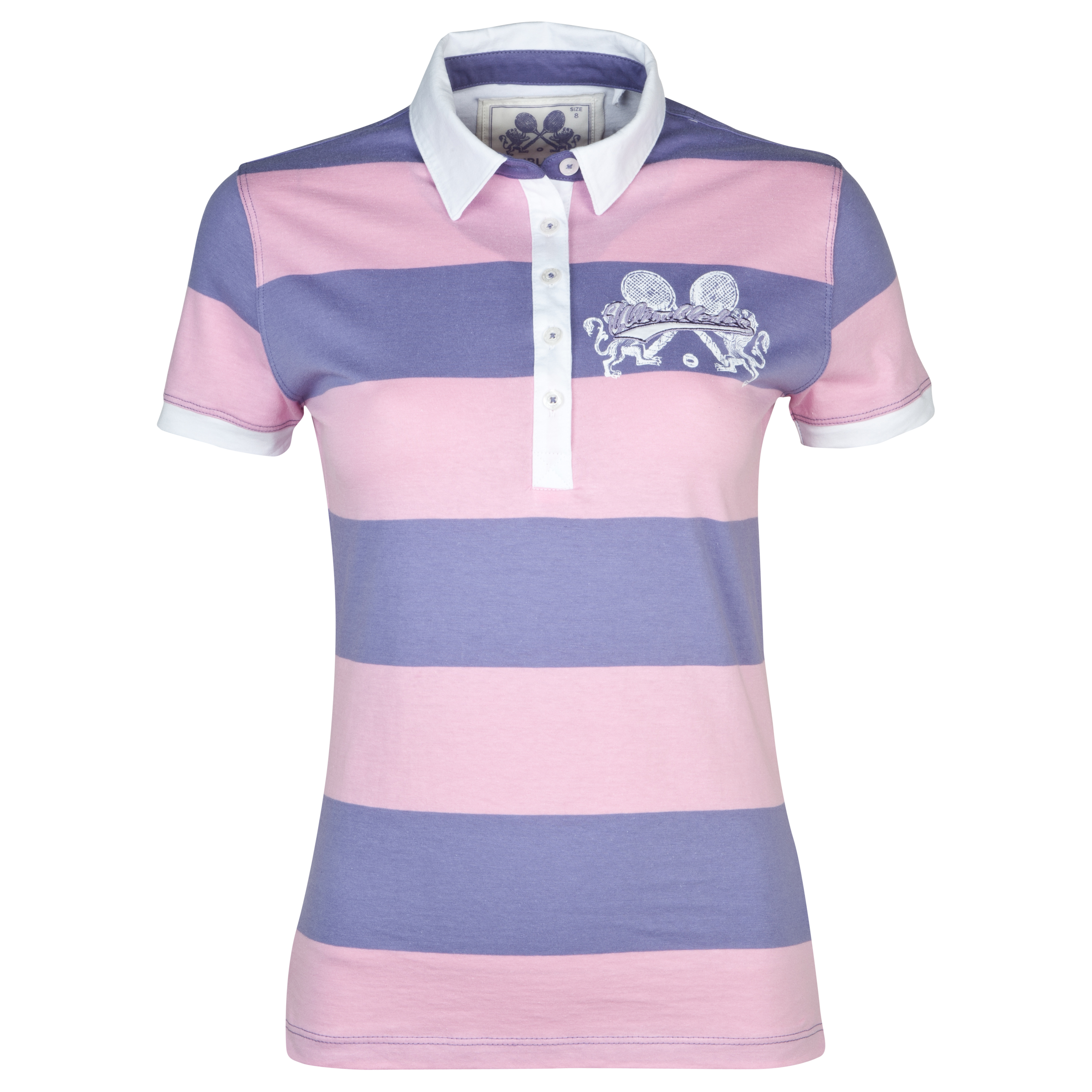 Wimbledon Block Stripe Polo - Ladies - Dark Lilac/Light Pink