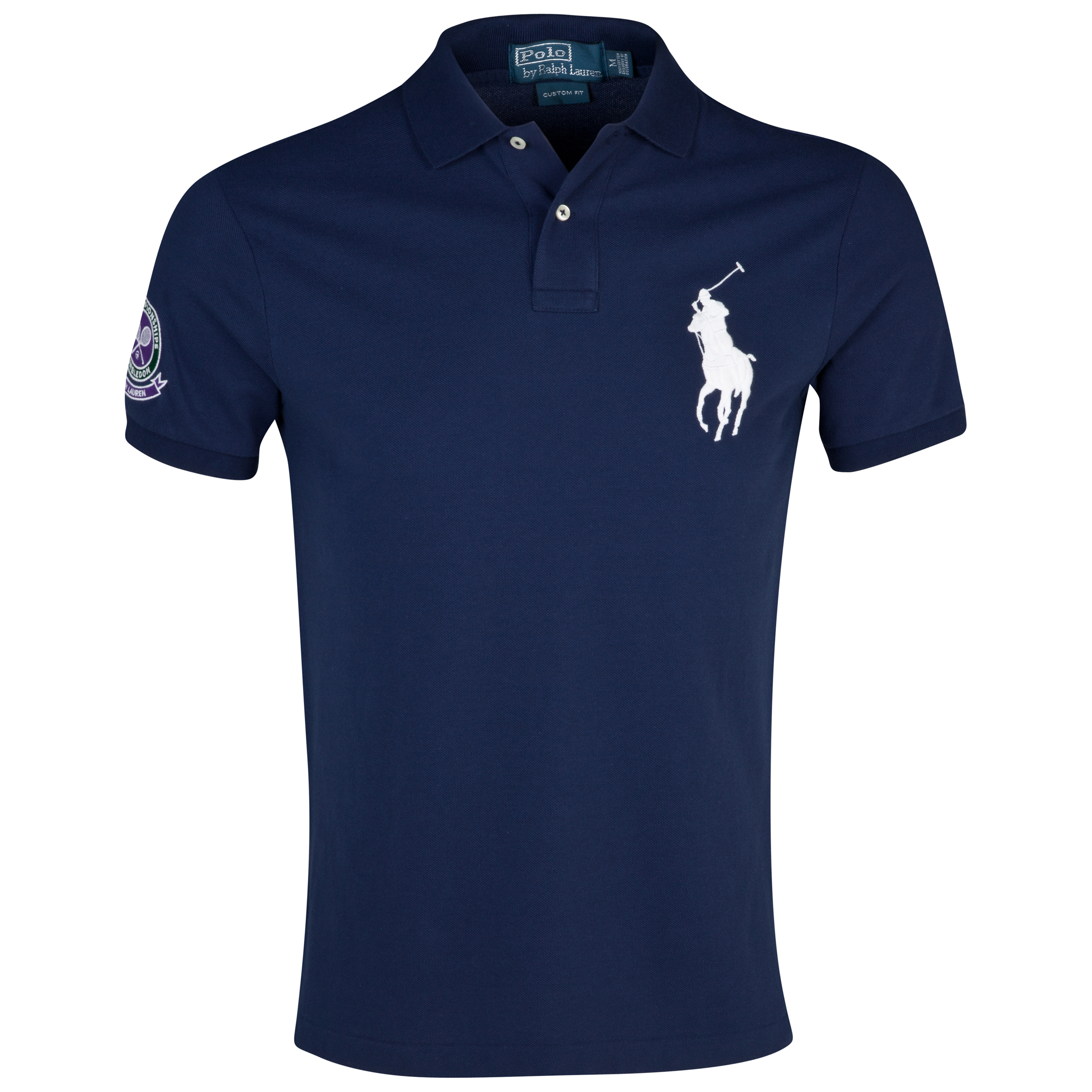 Wimbledon Polo Ralph Lauren Wimbledon Custom Fit Solid Weathered Mesh Polo Navy