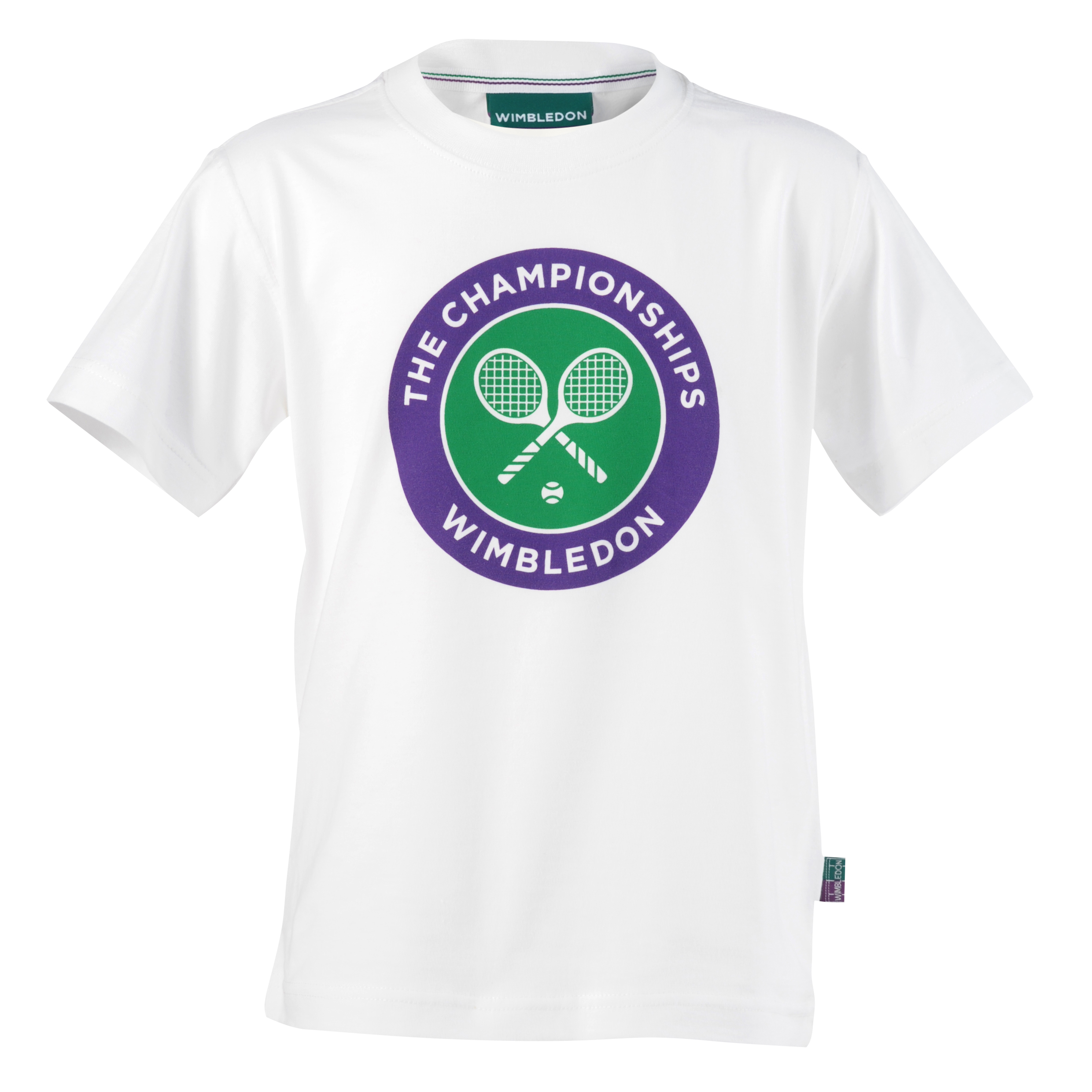 Wimbledon Crossed Rackets Print T-Shirt - Kids White