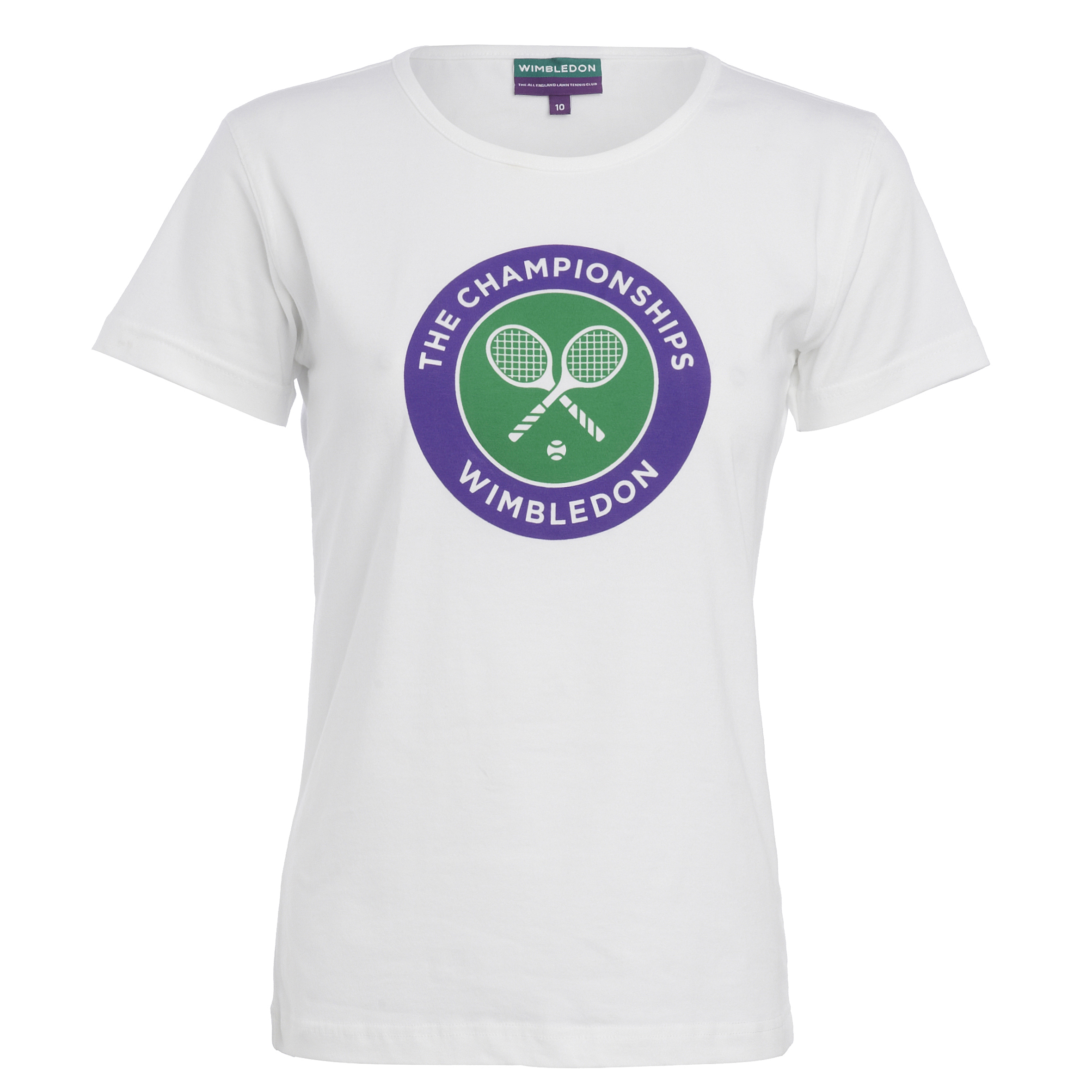 Wimbledon Crossed Rackets Print T-Shirt Womens White