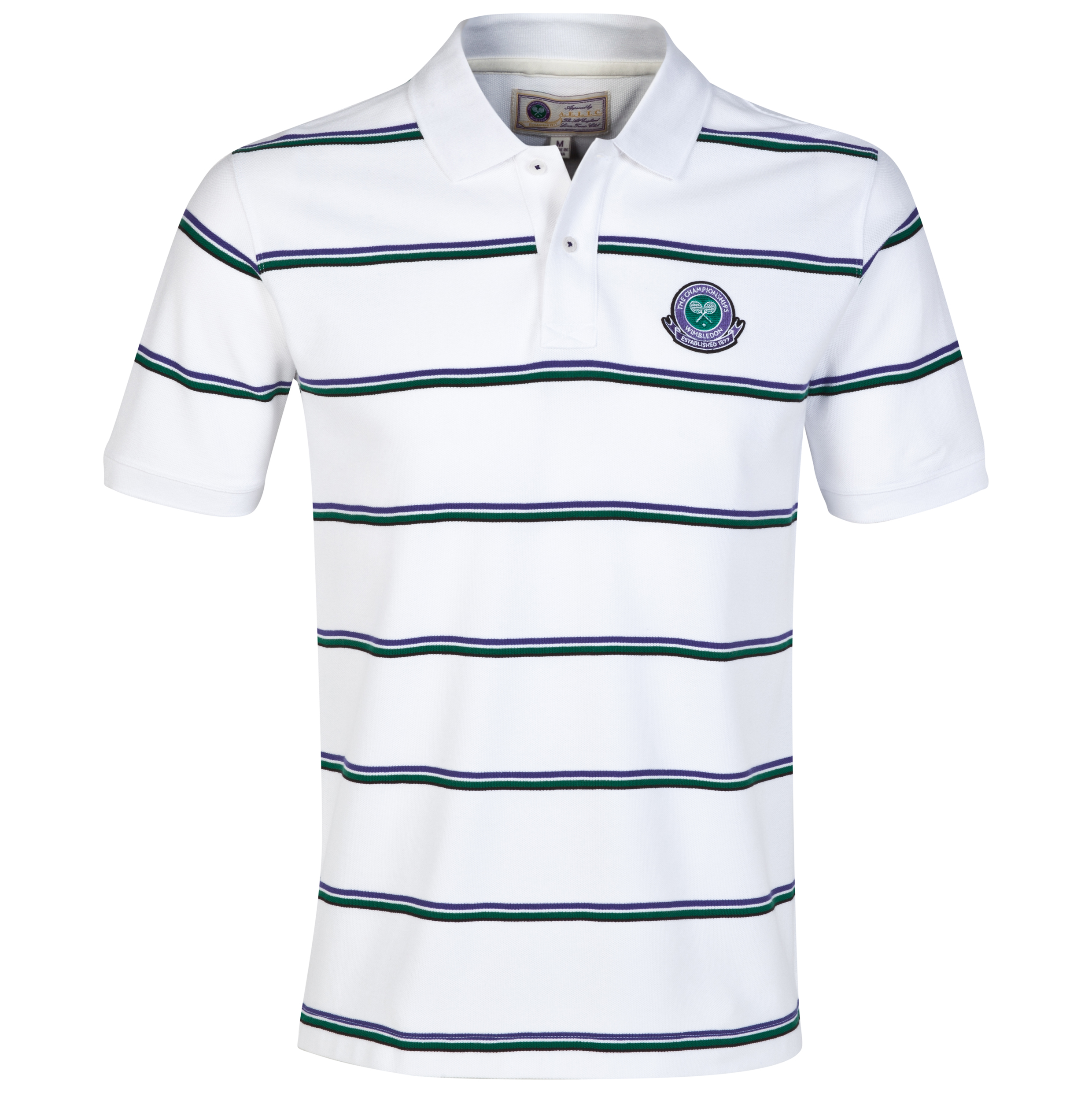 Wimbledon Jacquard Stripe Polo Shirt White