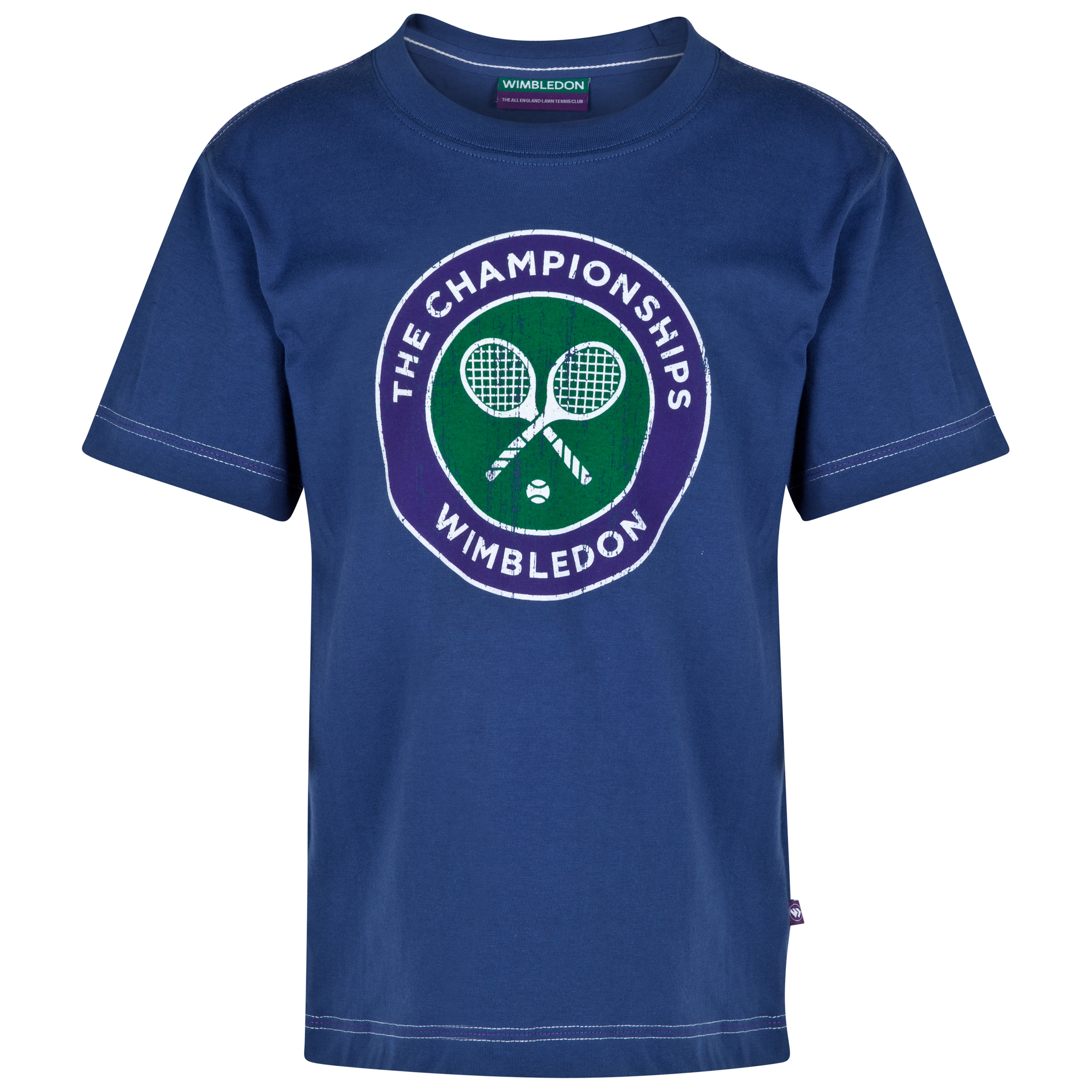Wimbledon Classic Distressed Rackets T-Shirt - Kids Navy