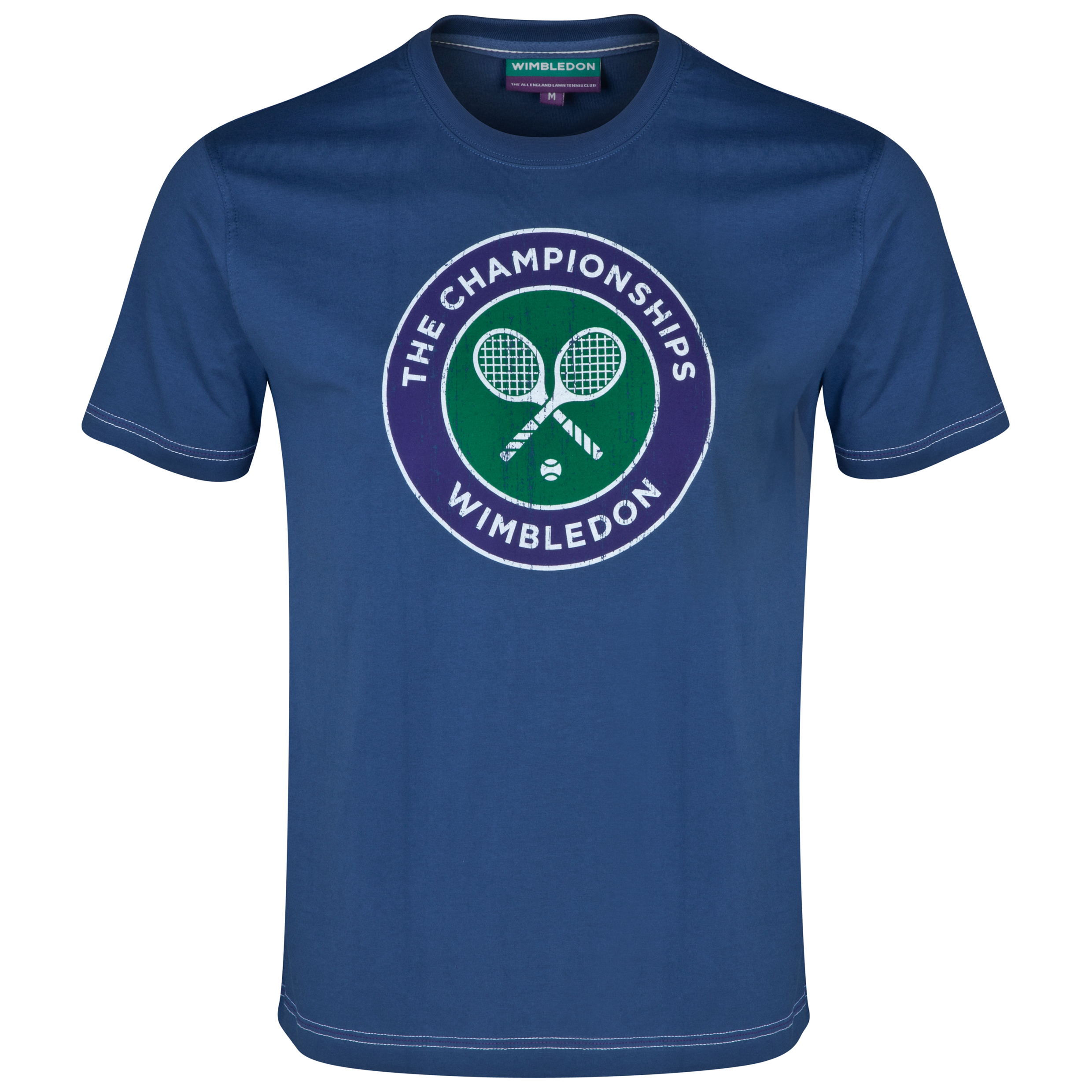 Wimbledon Classic Distressed Rackets T-Shirt Navy