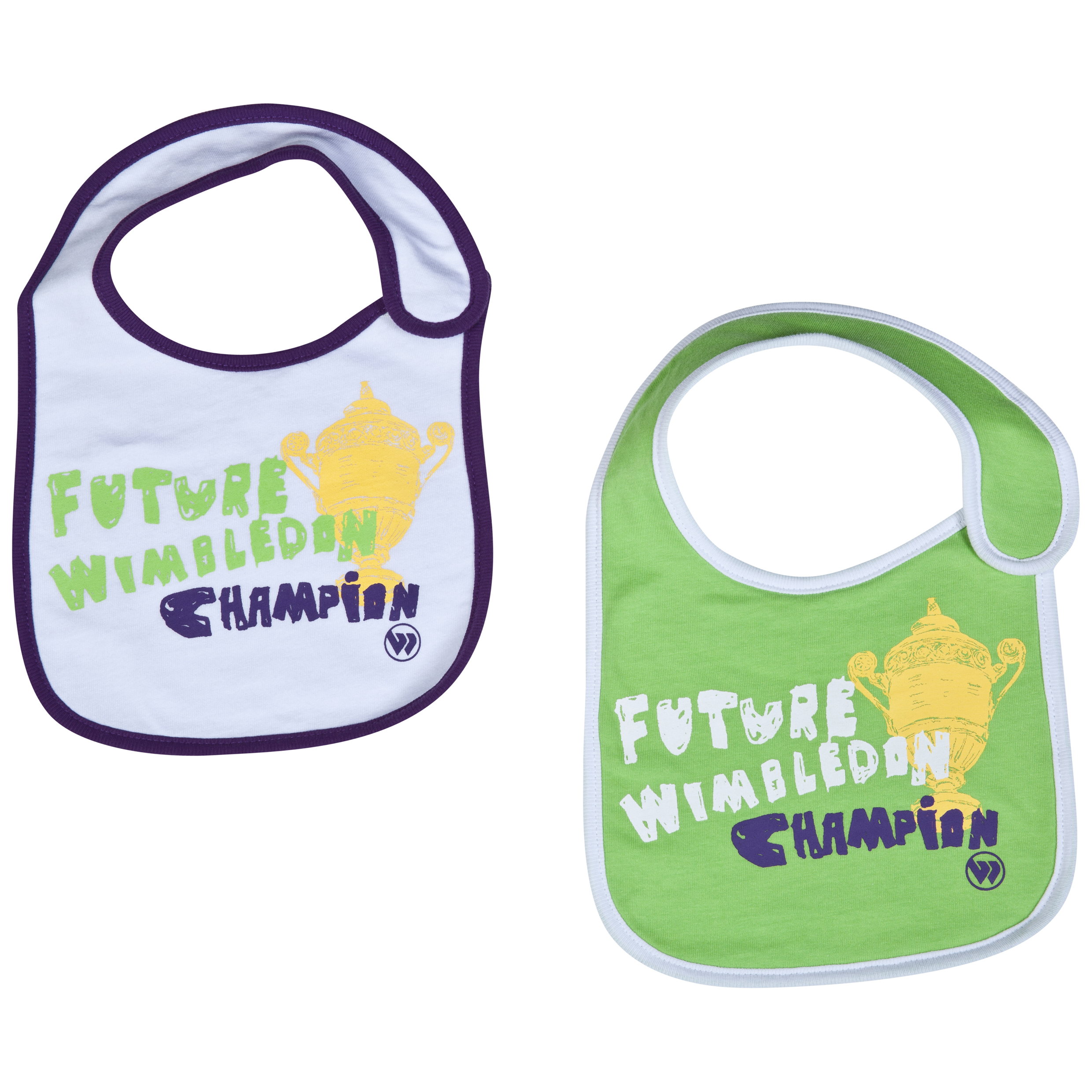 Wimbledon 2pk Future Wimbledon Champion Bibs - Infants White