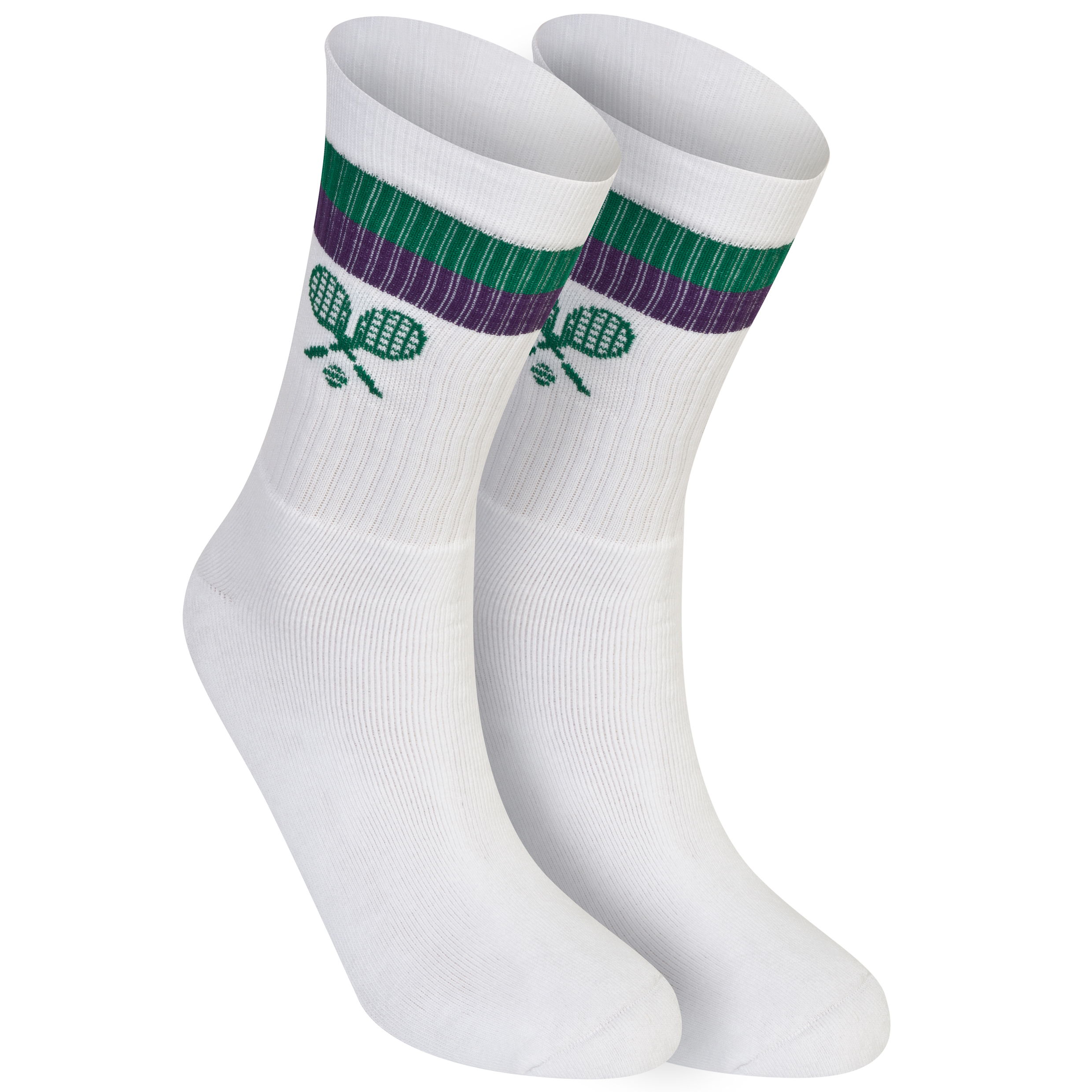 Wimbledon Crossed Racket Sock - Adult - White