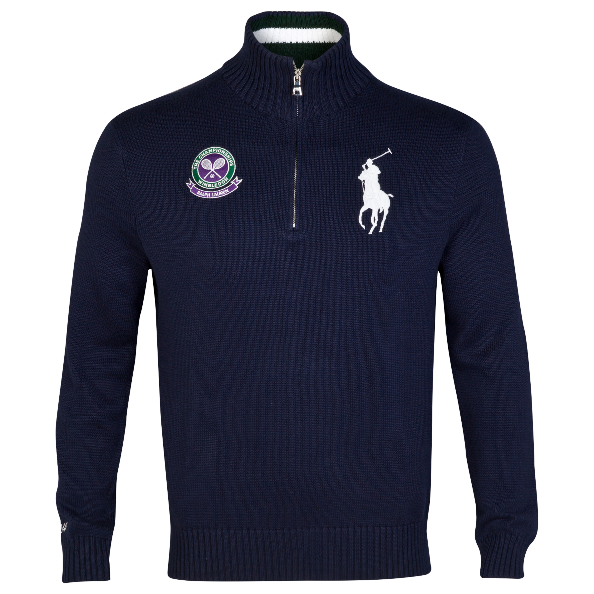 Wimbledon Polo Ralph Lauren Half Zip Cotton Knit Jumper Navy