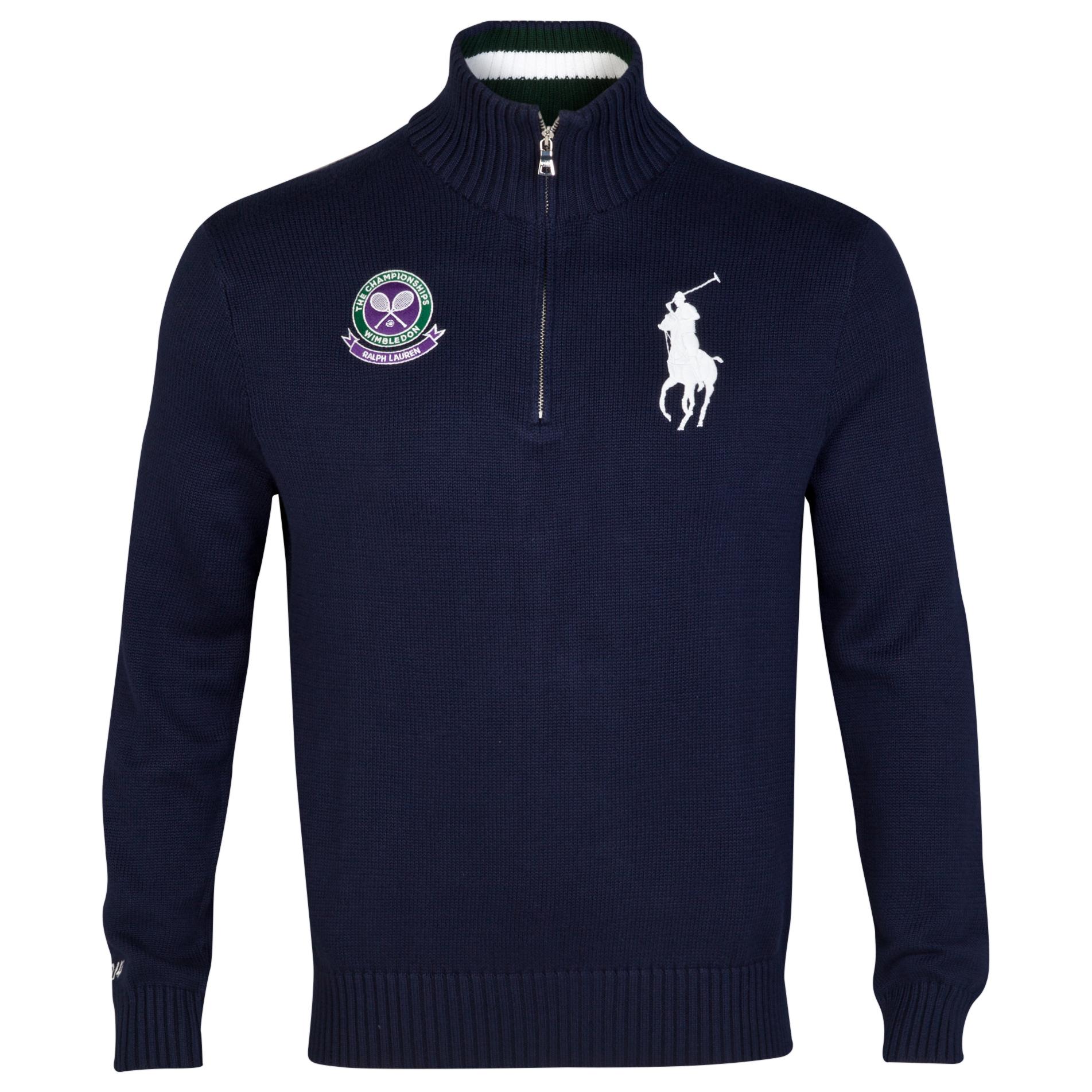 Wimbledon Polo Ralph Lauren Half Zip Cotton Knit Jumper Navy