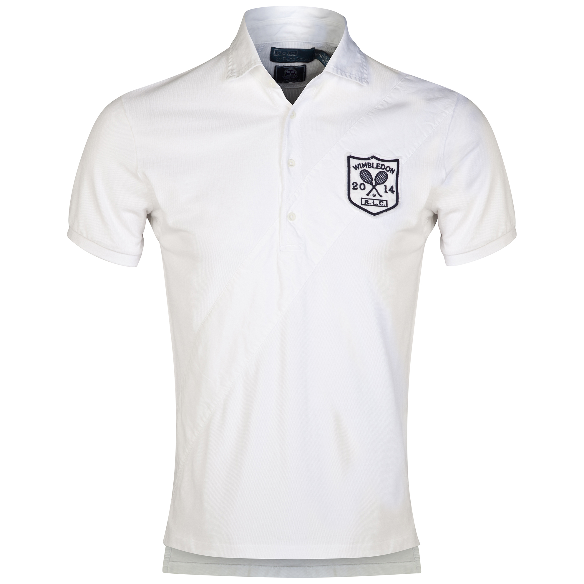 Wimbledon Polo Ralph Lauren Custom Fit Diagonal Stripe Polo - Classic Oxford White
