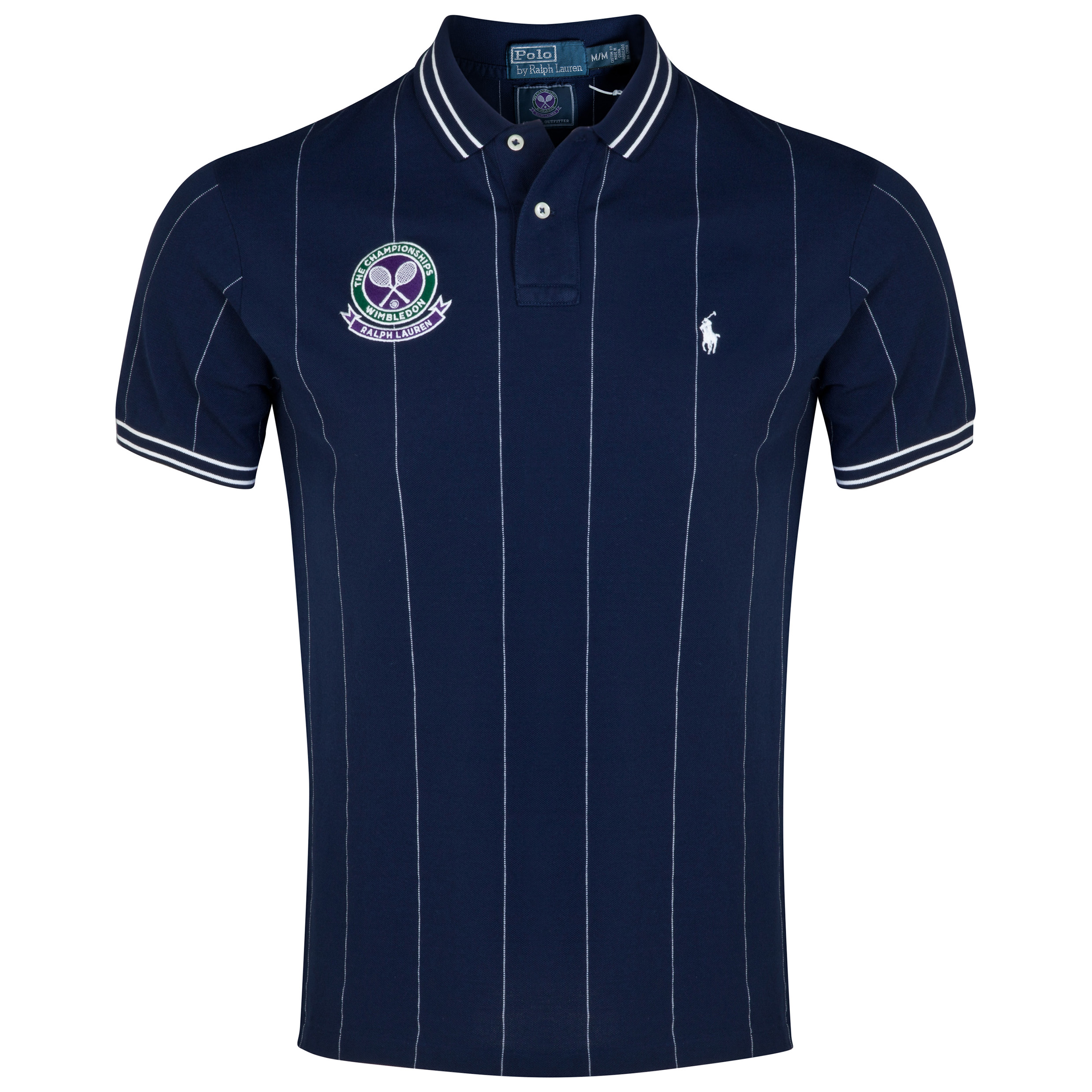 Wimbledon Polo Ralph Lauren Custom Fit Stripe Polo - French Navy